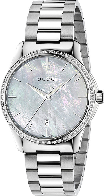 e5d39e90fc8 Gucci Ya126444 Timeless Stainless Steel in White - Lyst