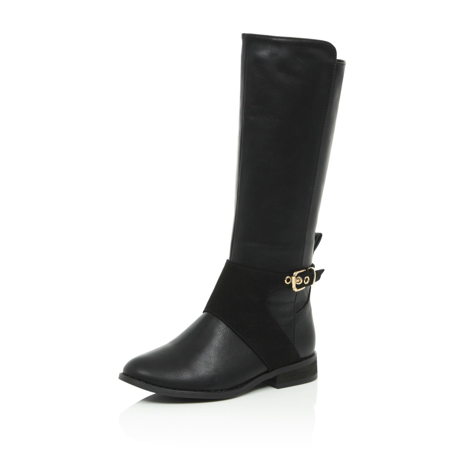 river island black knee high rider boots in black lyst