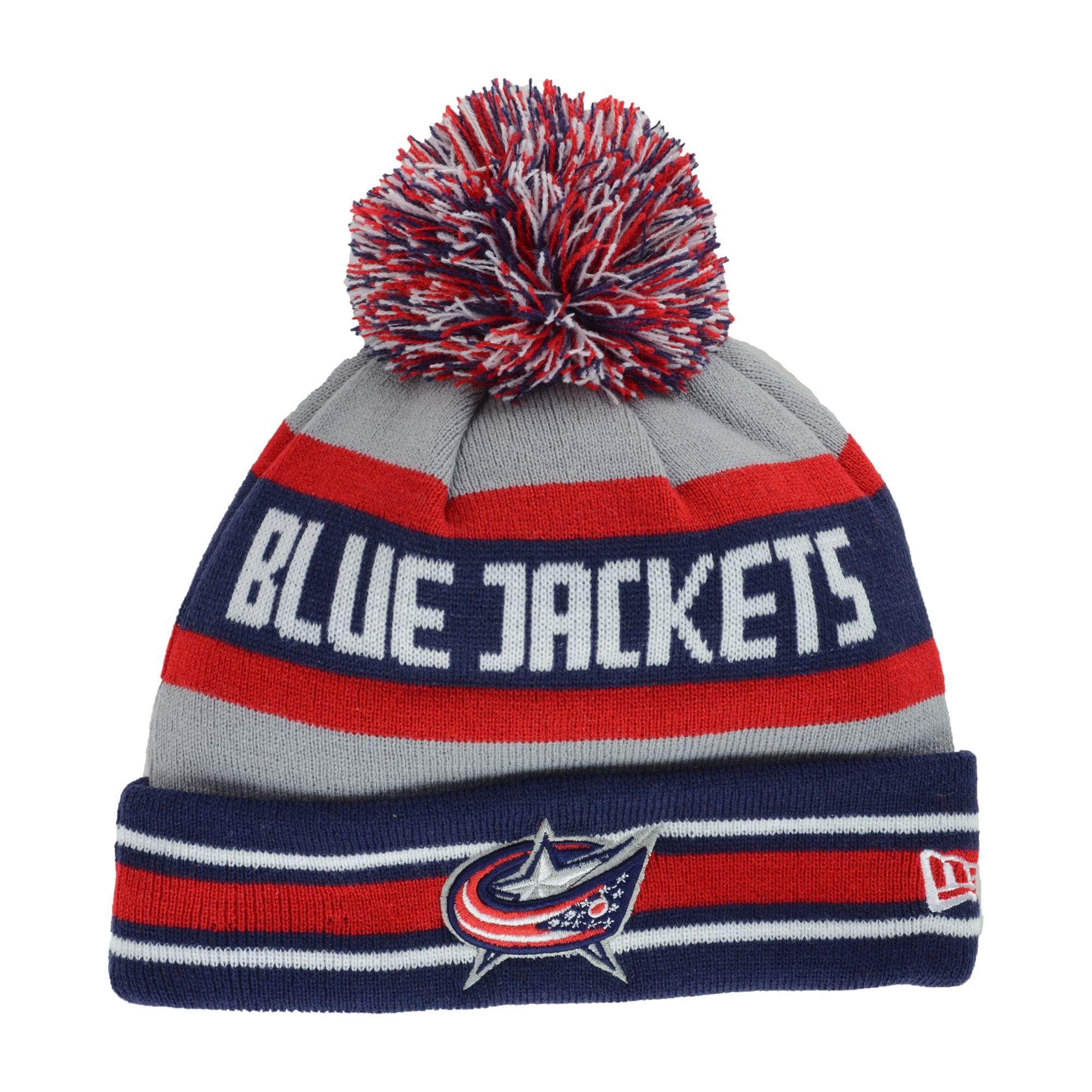 e33449238 Men's Gray Columbus Blue Jackets Jake Pom Knit Hat