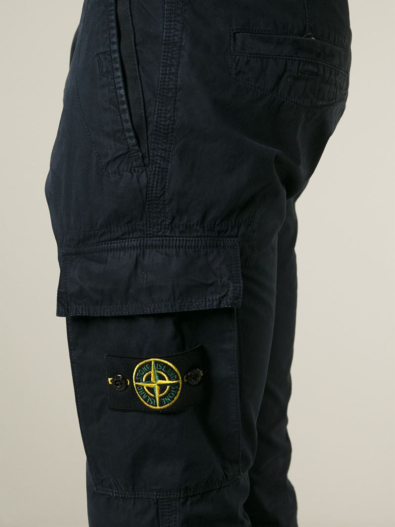 Lyst Stone Island Cargo Trousers In Blue For Men
