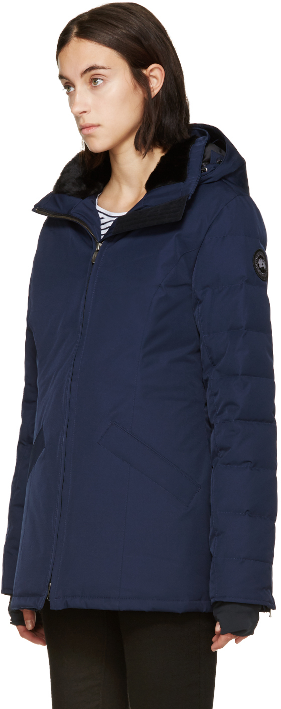 3cb4bb16022c ... uk lyst canada goose navy fur and down black label belmont parka in  blue 53bff 6b5a0