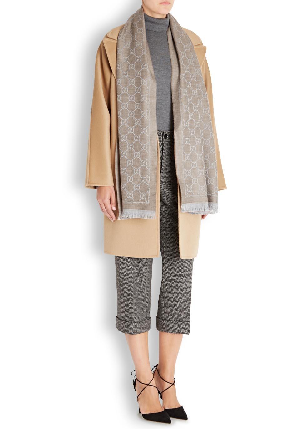 1b709d82 Gucci Brown Gg Taupe Wool Jacquard Scarf
