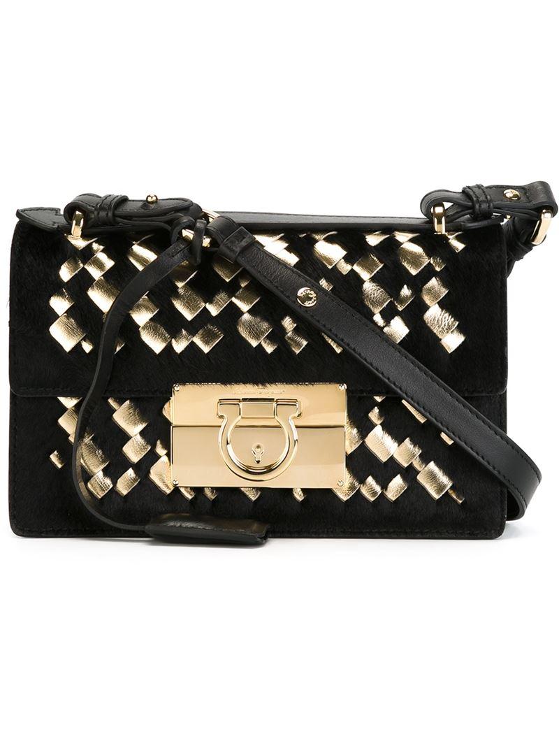 Ferragamo Aileen Leather and Pony Fur Shoulder Bag in Black - Lyst 5c1341f007
