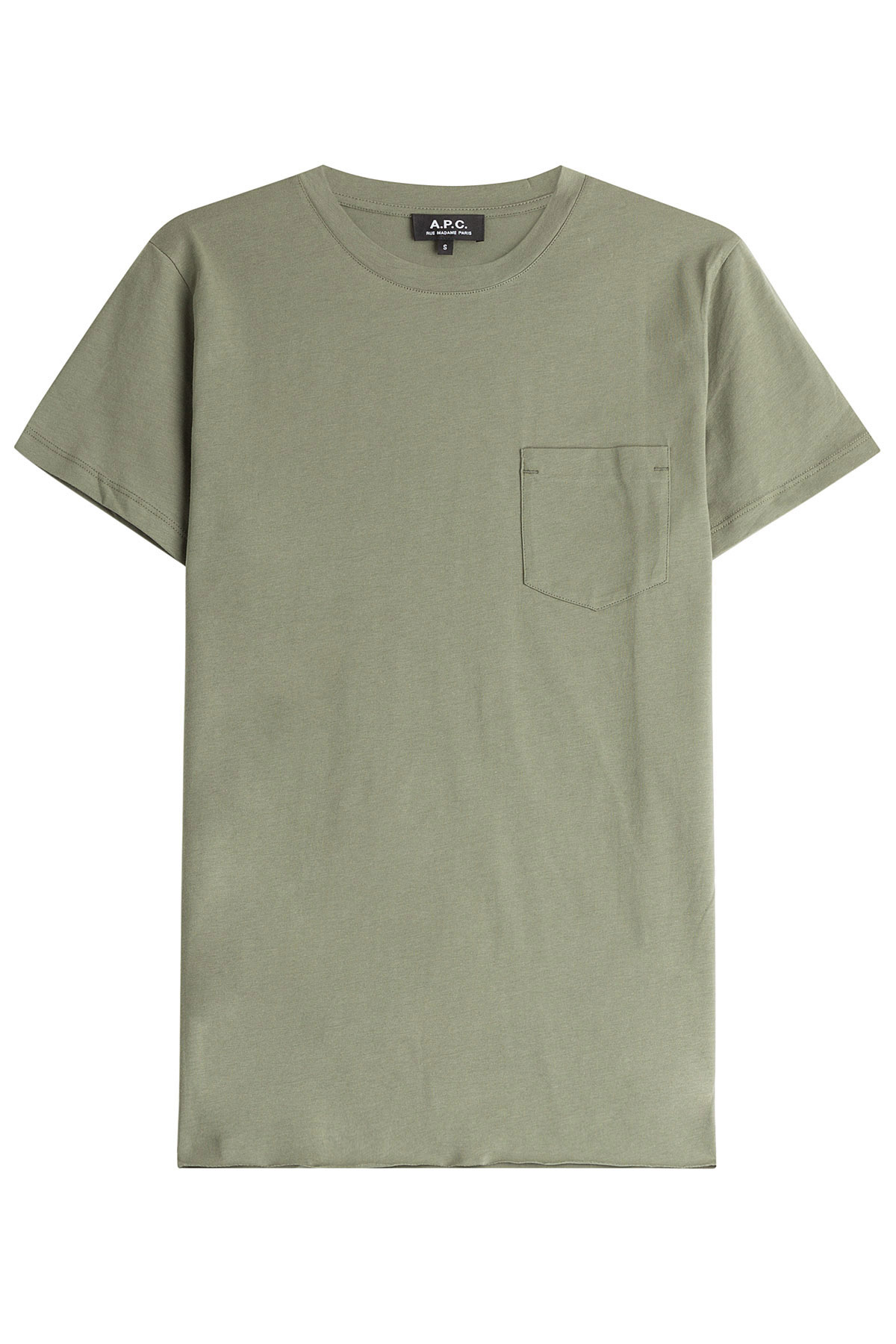 A p c cotton t shirt with pocket green in gray for men for Apc white t shirt