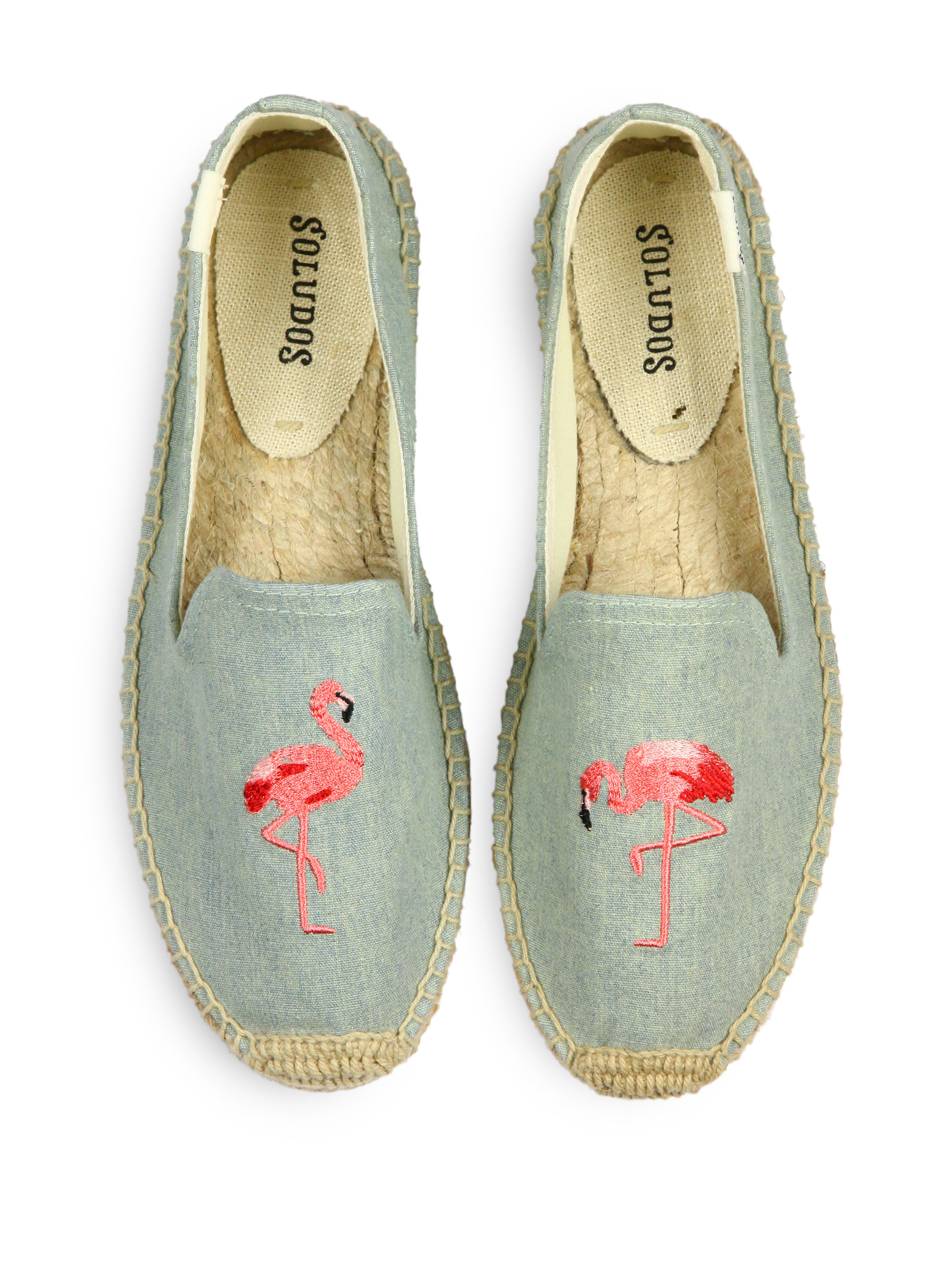 Soludos Flamingo Chambray Espadrille Flats in Blue (light ...