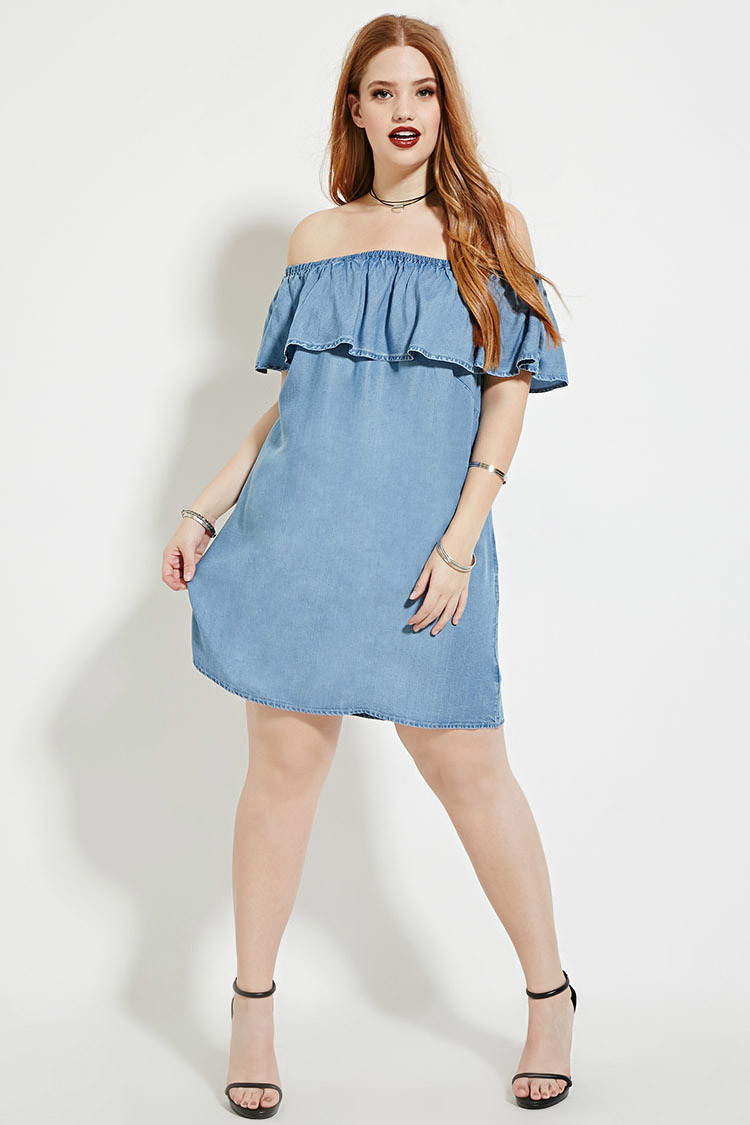 Lyst Forever 21 Plus Size Chambray Dress In Blue
