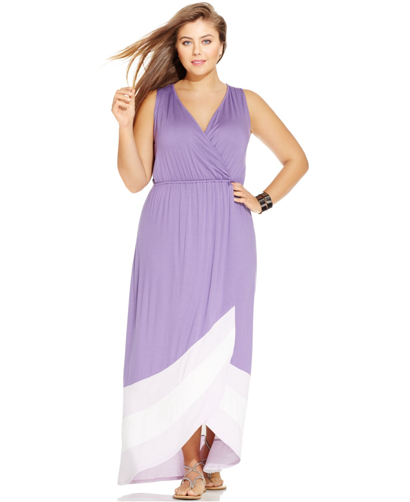 Plus Size Sleeveless Colorblocked Maxi Dress