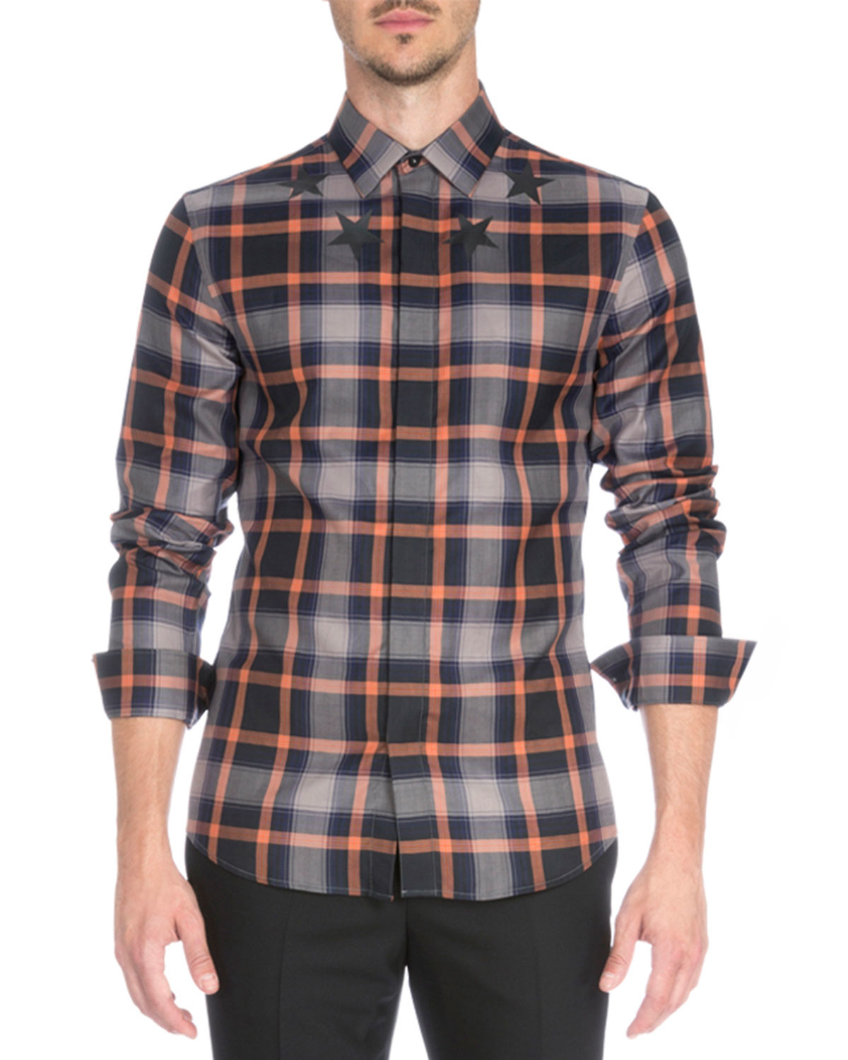Givenchy Plaid With Star Print Woven Shirt In Orange For