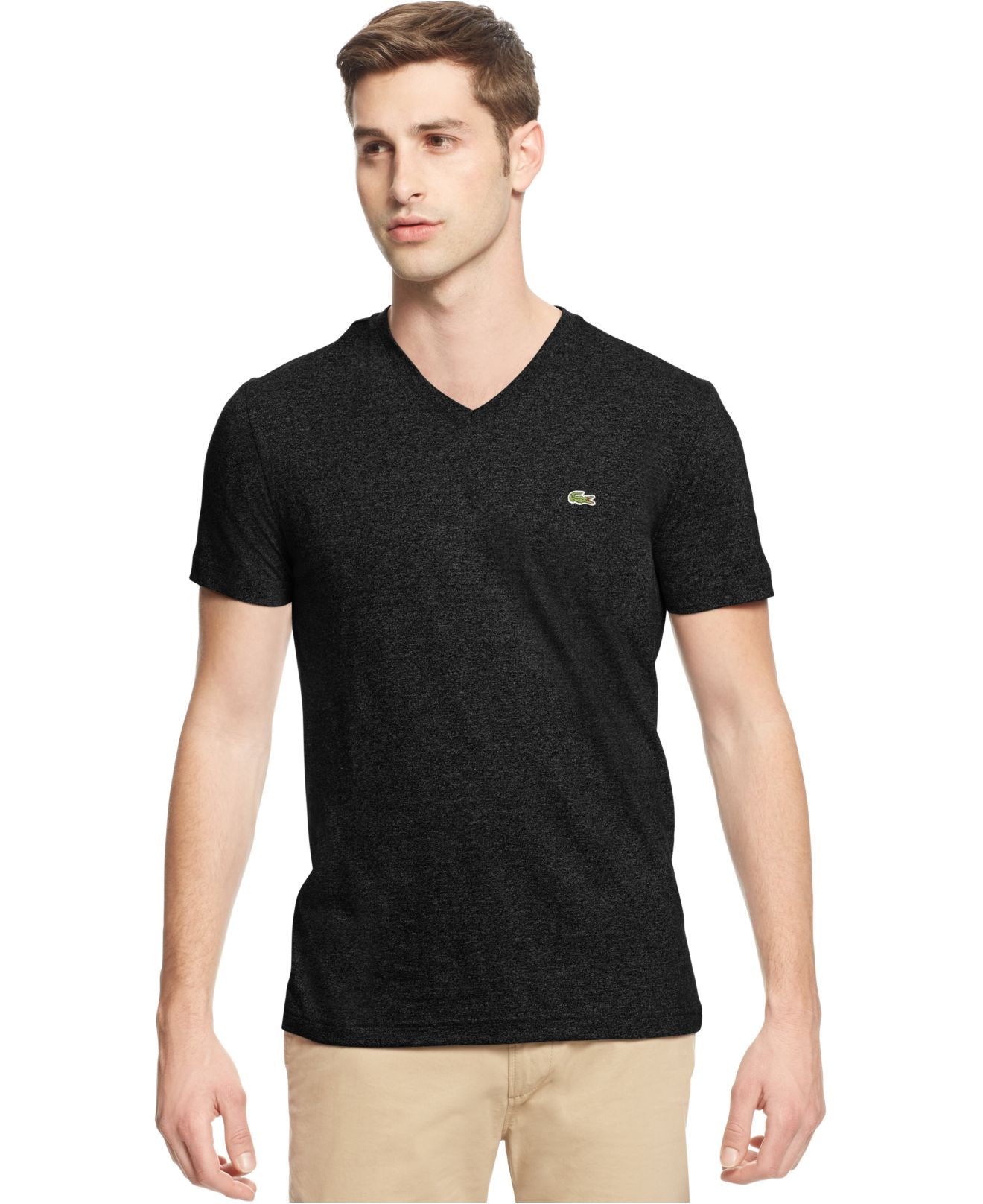 lacoste big and tall solid v neck jersey t shirt in black