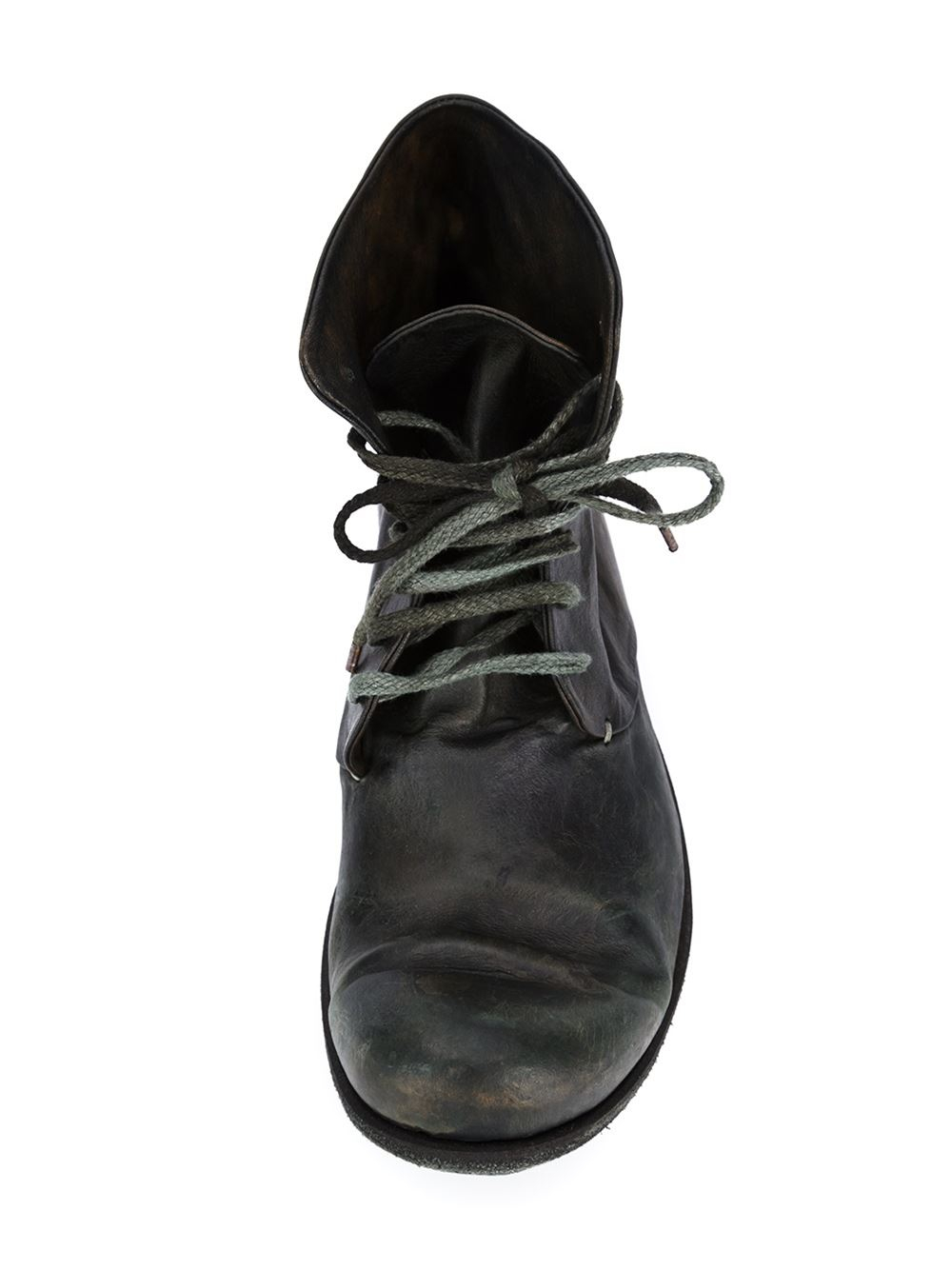 A Diciannoveventitre Leather Lace-up Distressed Boots in Black