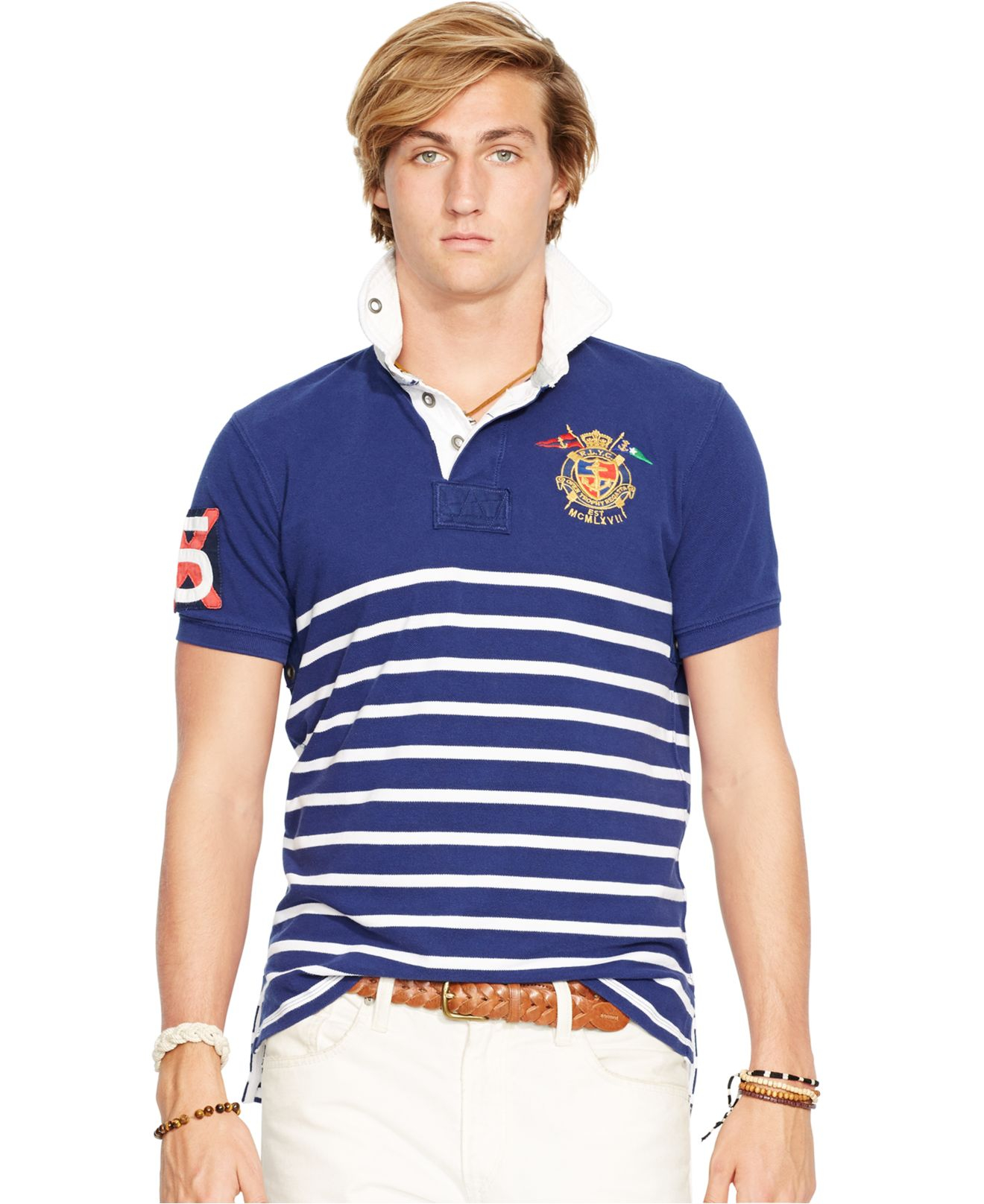 Polo ralph lauren striped yacht club rugby shirt in blue for Ralph lauren polo club shirts
