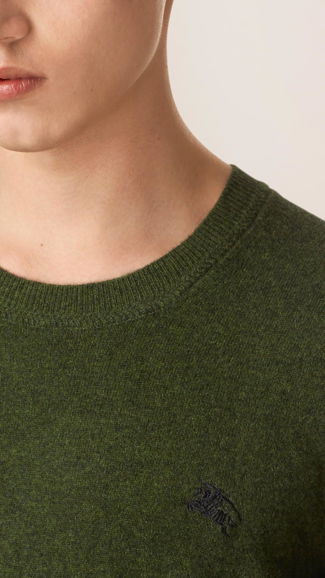 Burberry Crew Neck Cashmere Sweater Olive Green in Green for Men ...