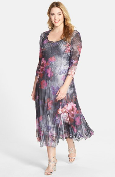 Komarov Gray Plus Size Women\'S Floral Print Pleated Chiffon Dress