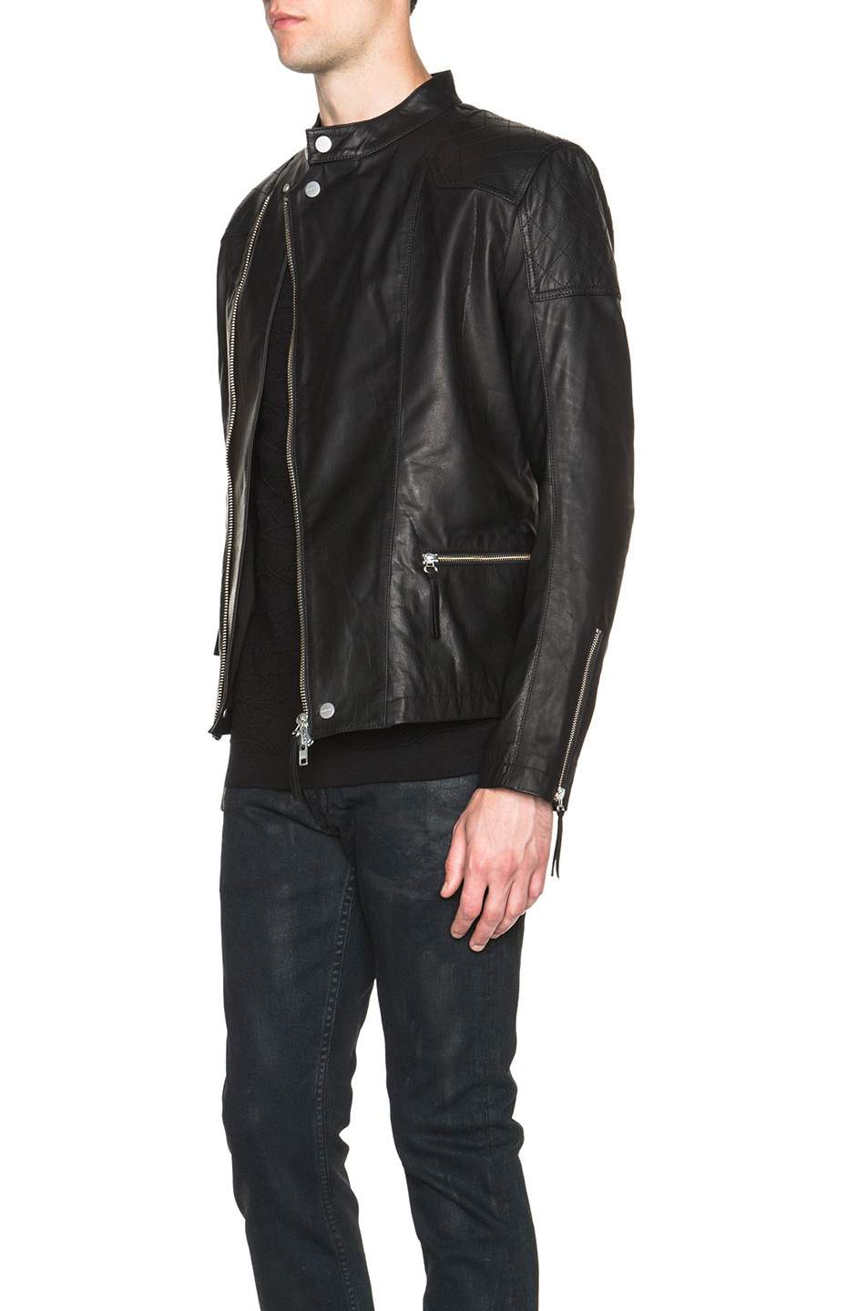 Leather rider jacket