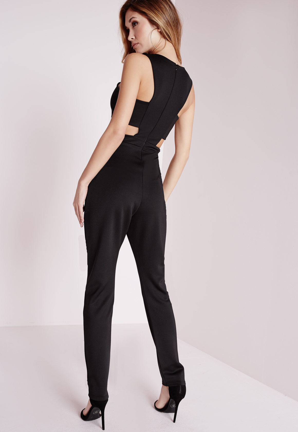 7545b728846 Missguided Racerneck Cut Out Waist Jumpsuit Black in Black .