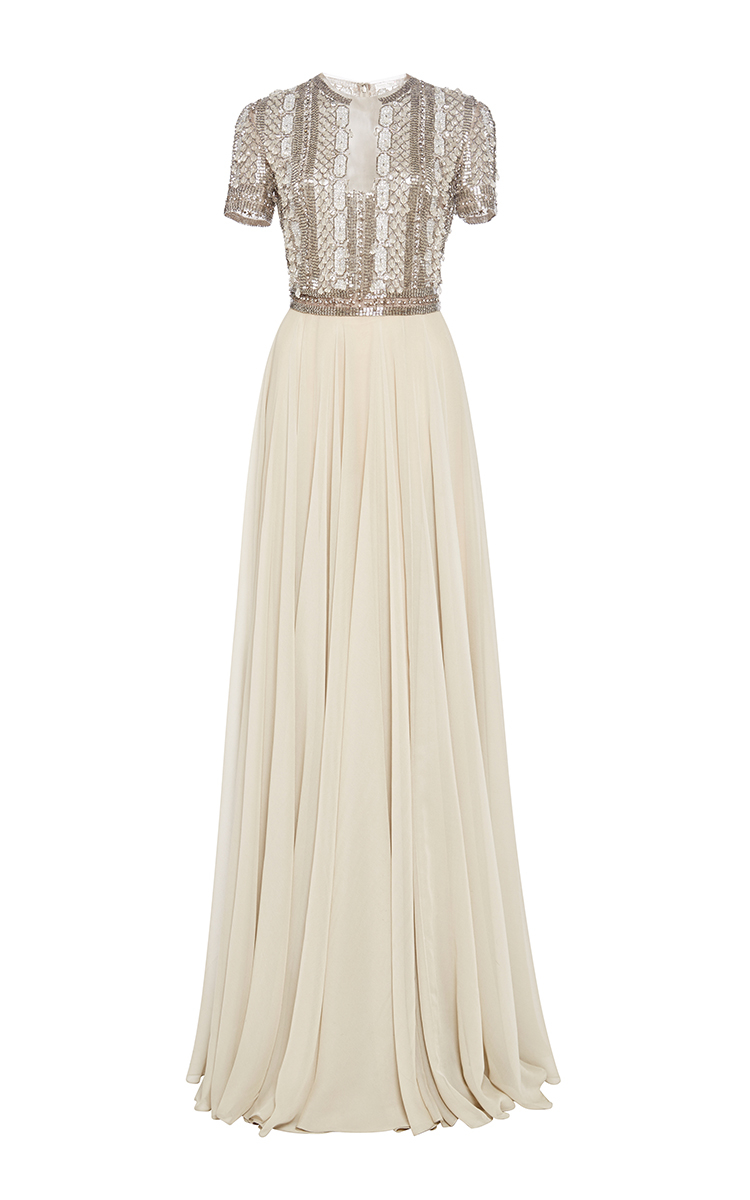 ffc28998d40d6 Reem Acra Embroidered Illusion Gown With Circle Skirt in Natural - Lyst