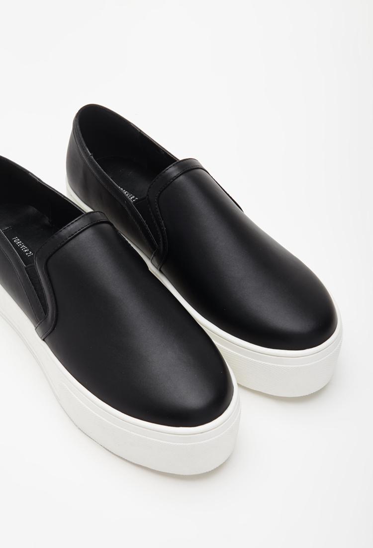 Lyst - Forever 21 Faux Leather Platform Slip-ons in Black 160fff97b