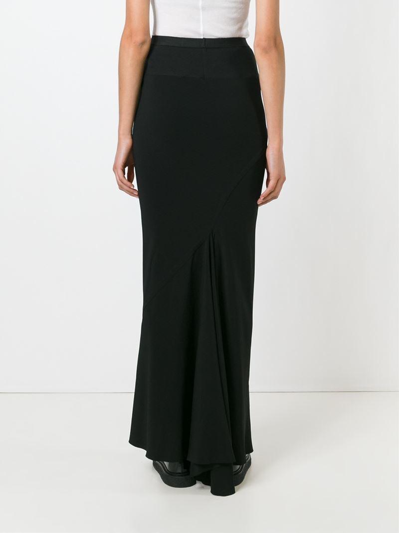 rick owens mermaid maxi skirt in black lyst