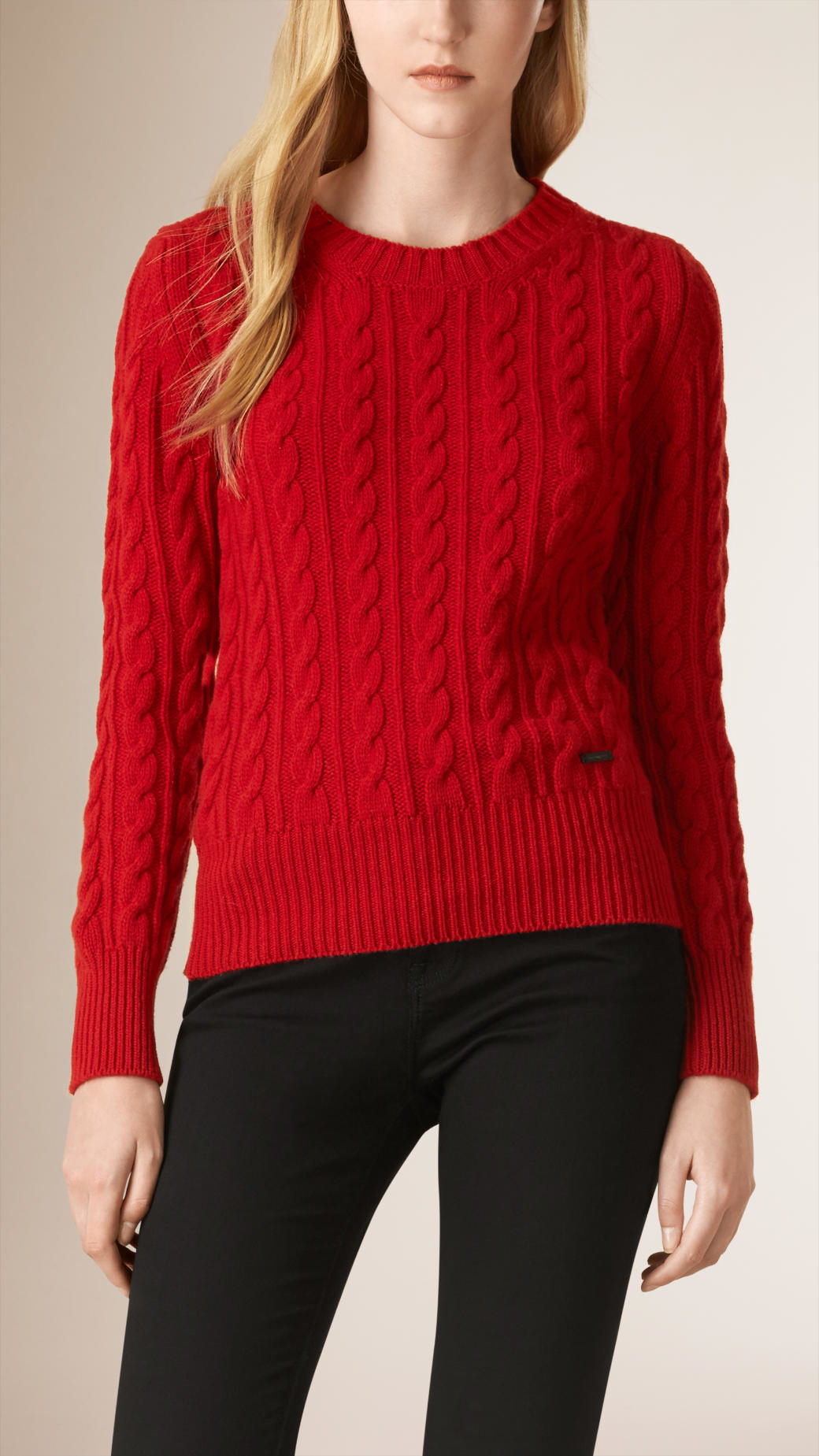 Burberry Cable Knit Wool Cashmere Sweater Parade Red in Red | Lyst