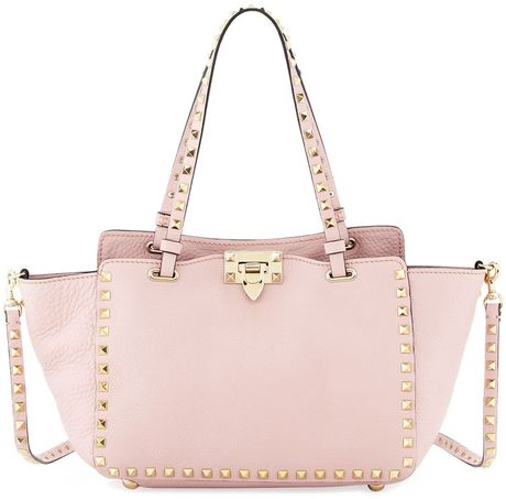 rockstud mini tote bag light pink in pink light pink lyst. Black Bedroom Furniture Sets. Home Design Ideas