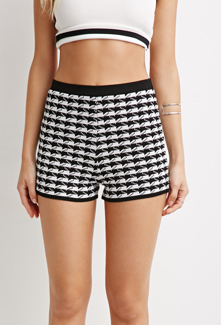 Knit Shorts Pattern : Forever 21 Abstract Houndstooth Pattern Knit Shorts in White Lyst