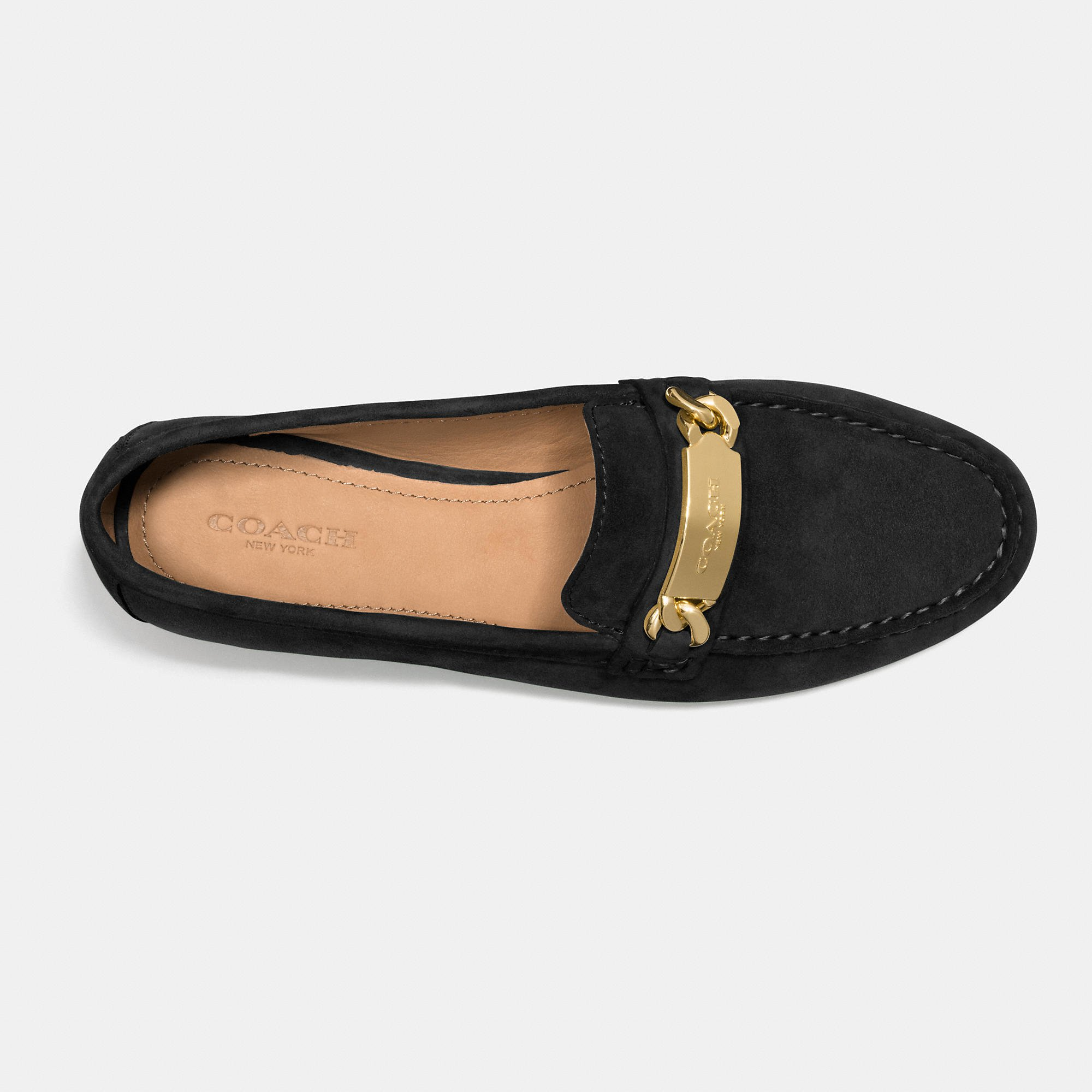 COACH Kimmie Topstitched Suede Loafers in Black - Lyst