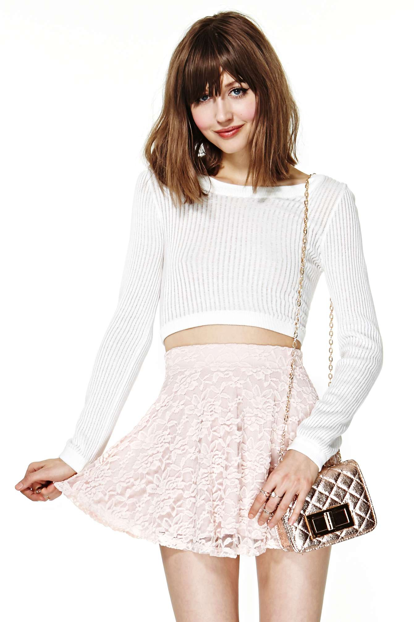 Lyst - Nasty Gal Marseille Lace Skirt in Pink