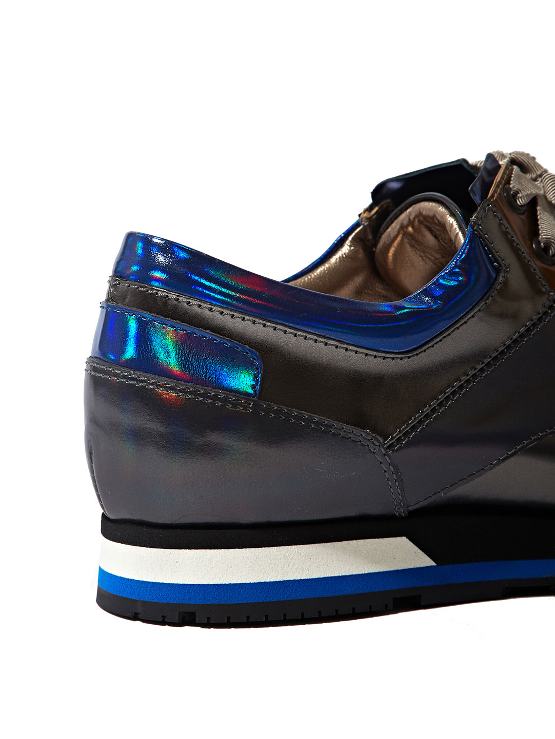 Lanvin Womens Holographic Leather Sneakers in Gray | Lyst