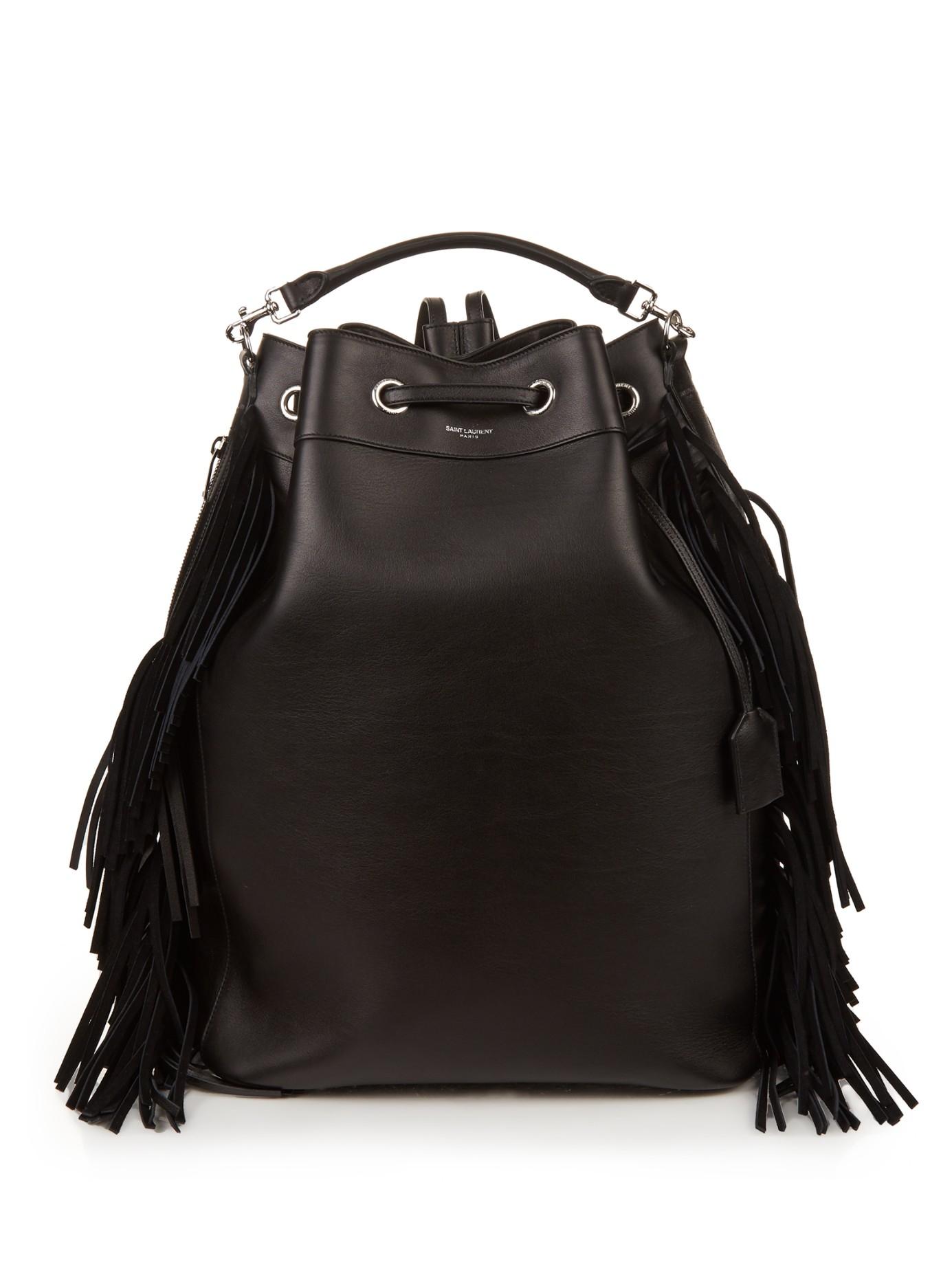 Saint Laurent Emmanuelle Fringed Leather Backpack in Black - Lyst 8e0488626339c