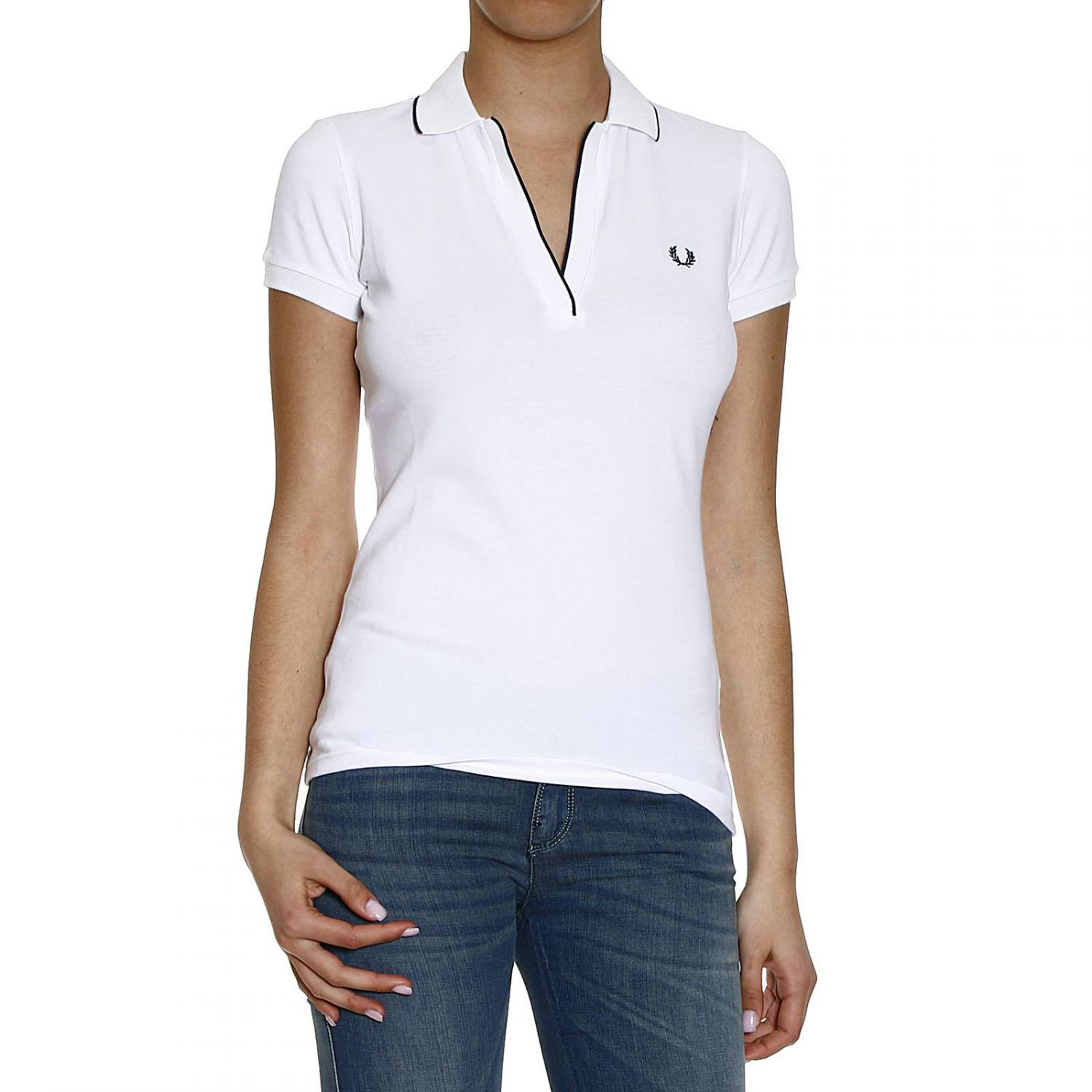Lyst fred perry t shirt polo piquet half sleeve with for No button polo shirts