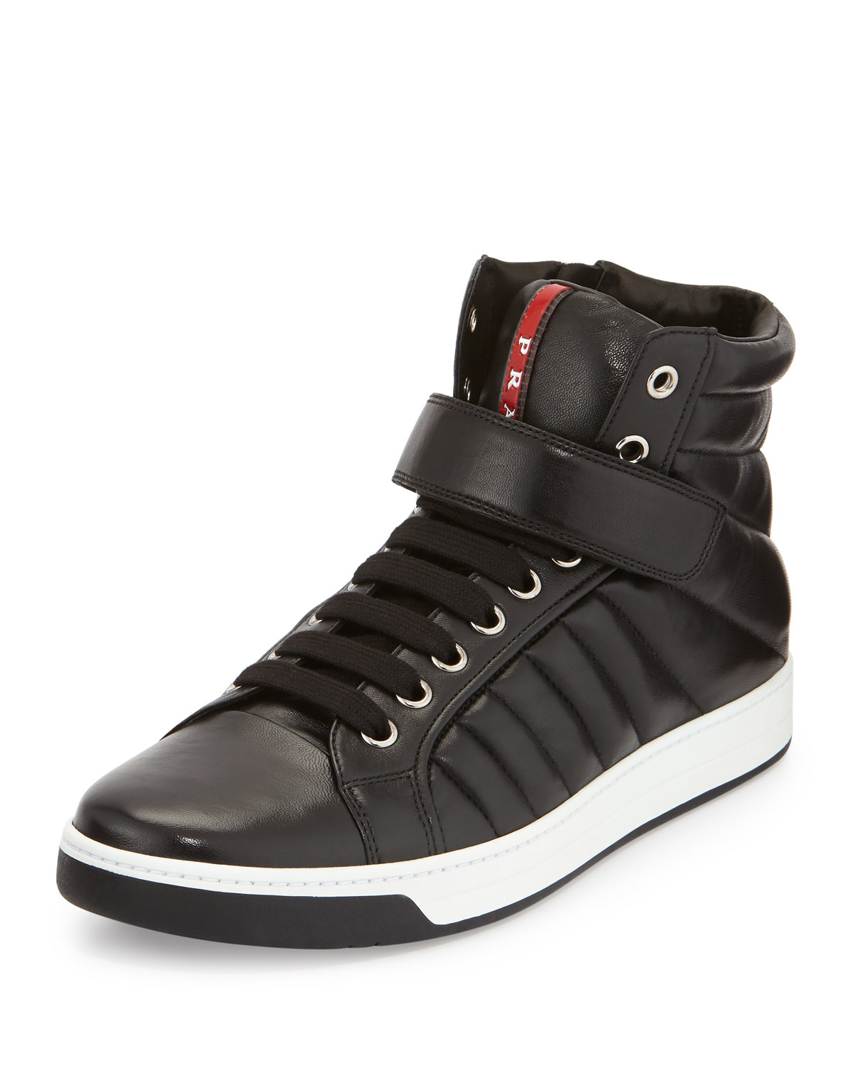 Prada Quilted Leather High-Top Sneakers in Black for Men ...