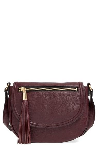 0d4727e492 MILLY - Purple  astor  Tasseled Pebbled Leather Saddle Crossbody Bag -  Burgundy - Lyst