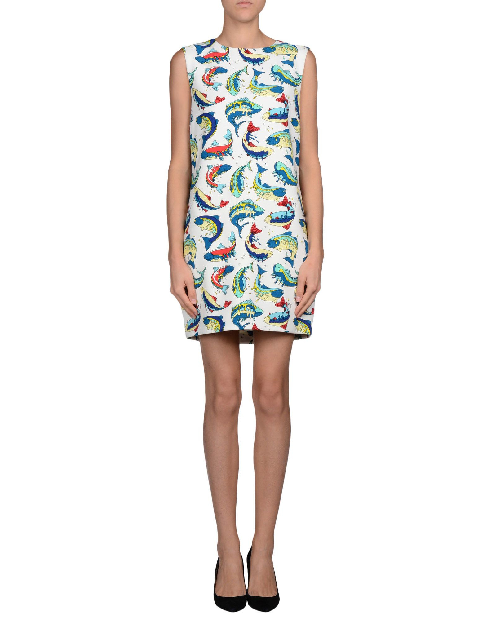 Kenzo fish print shift dress in white lyst for Fish print dress