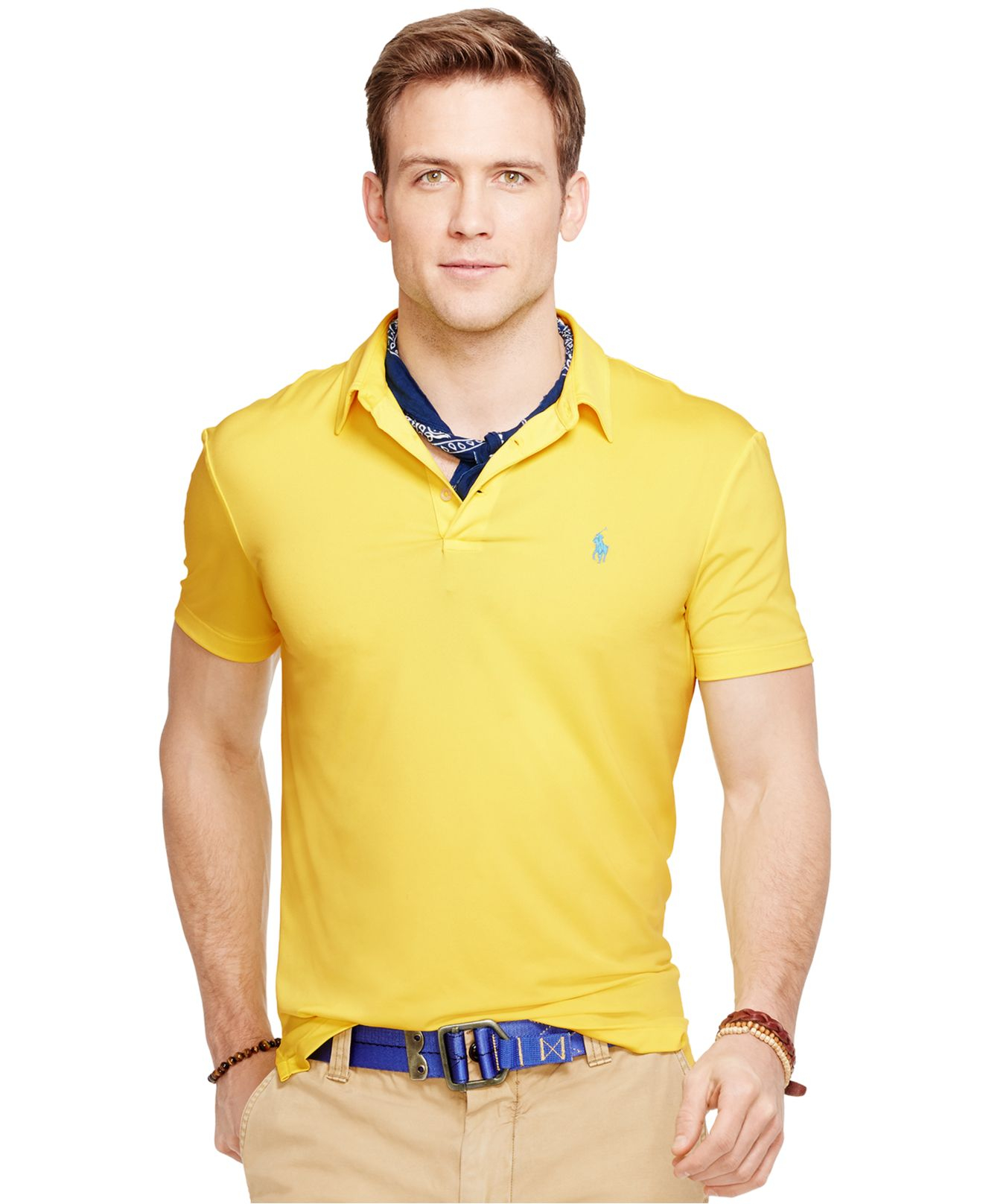 9f267610adbcc Lyst - Polo Ralph Lauren Performance Polo Shirt in Yellow for Men
