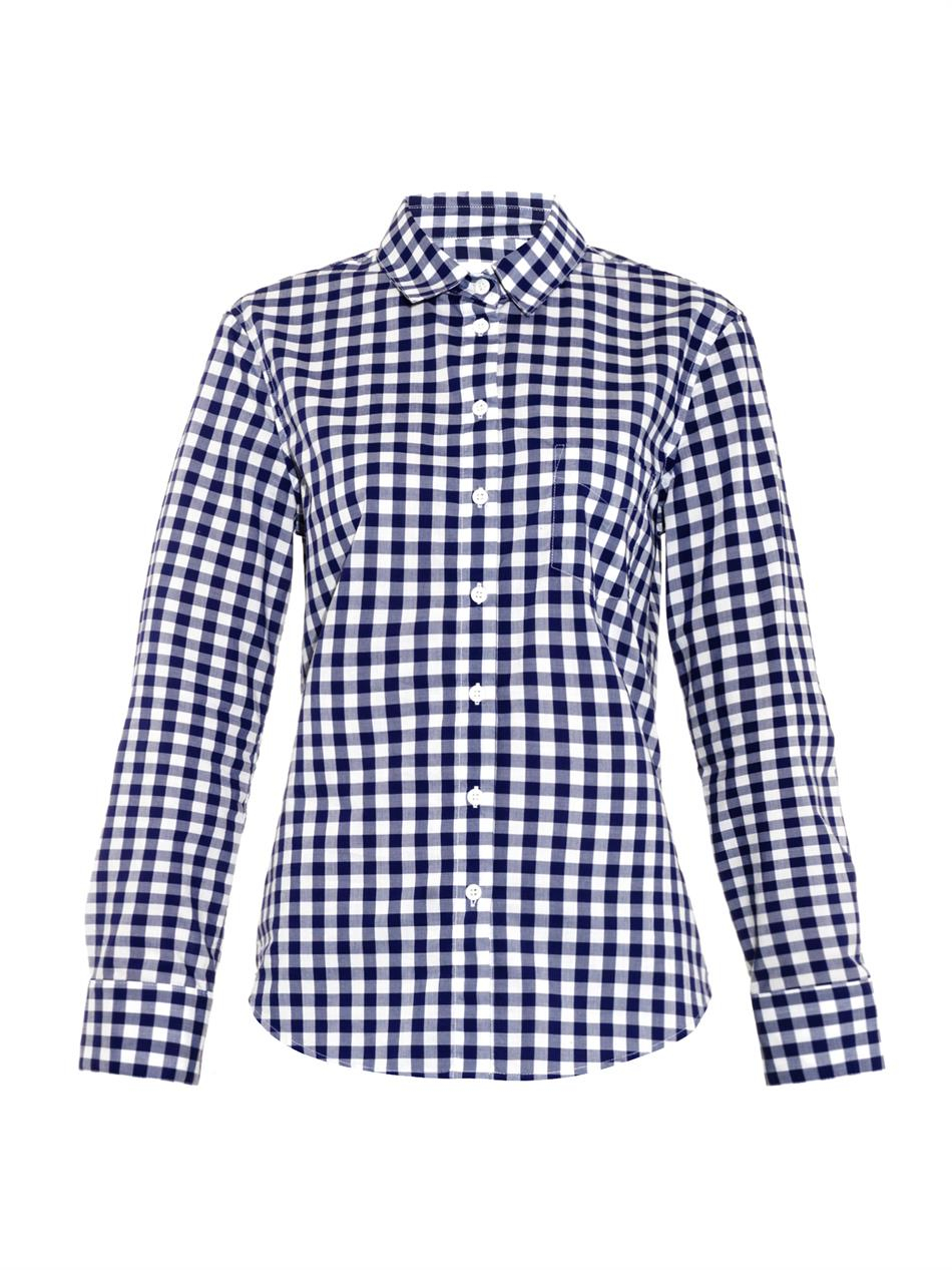 Band of outsiders gingham shirt in blue lyst for Red and white gingham shirt women s