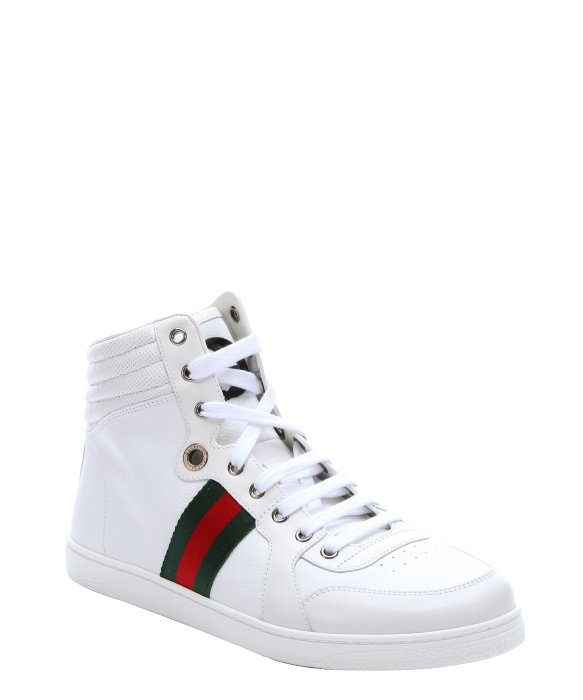 gucci white leather web stripe 39 alta coda 39 high top sneakers in white for men lyst. Black Bedroom Furniture Sets. Home Design Ideas