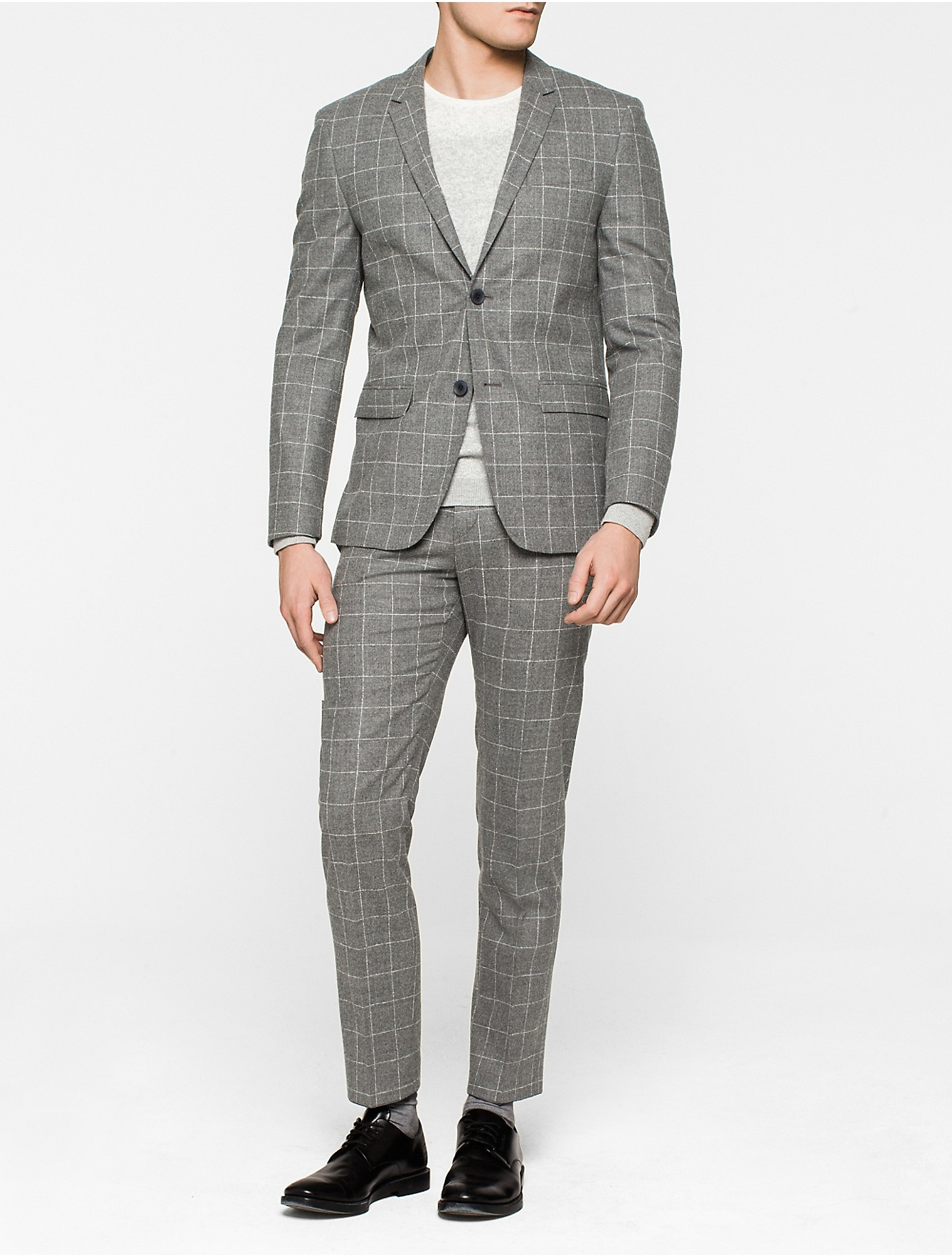 calvin klein windowpane fitted virgin wool suit in gray. Black Bedroom Furniture Sets. Home Design Ideas