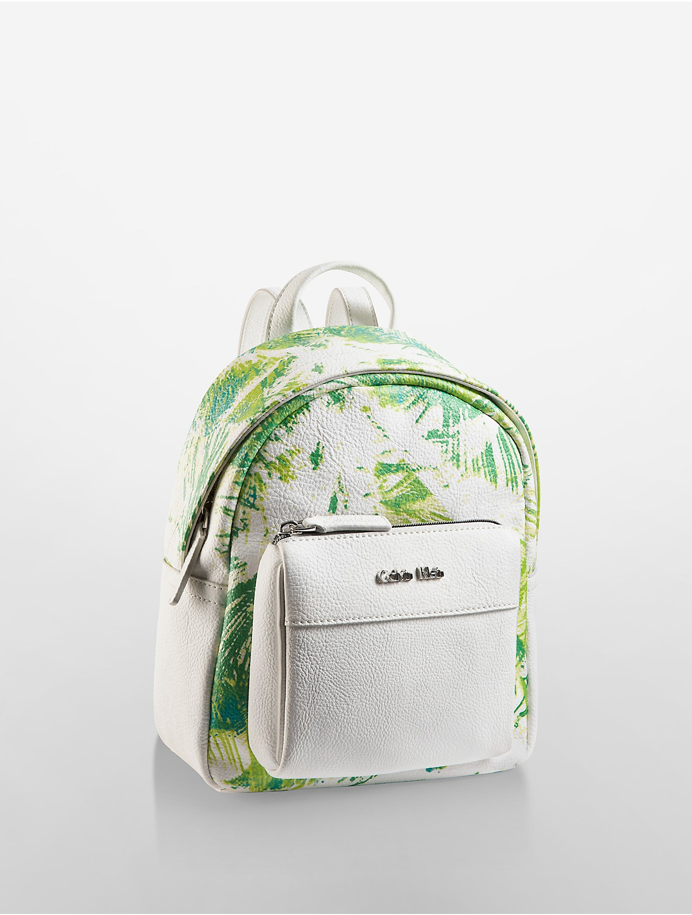 foto de Calvin Klein Leather Hailey Palm Print City Backpack in White - Lyst
