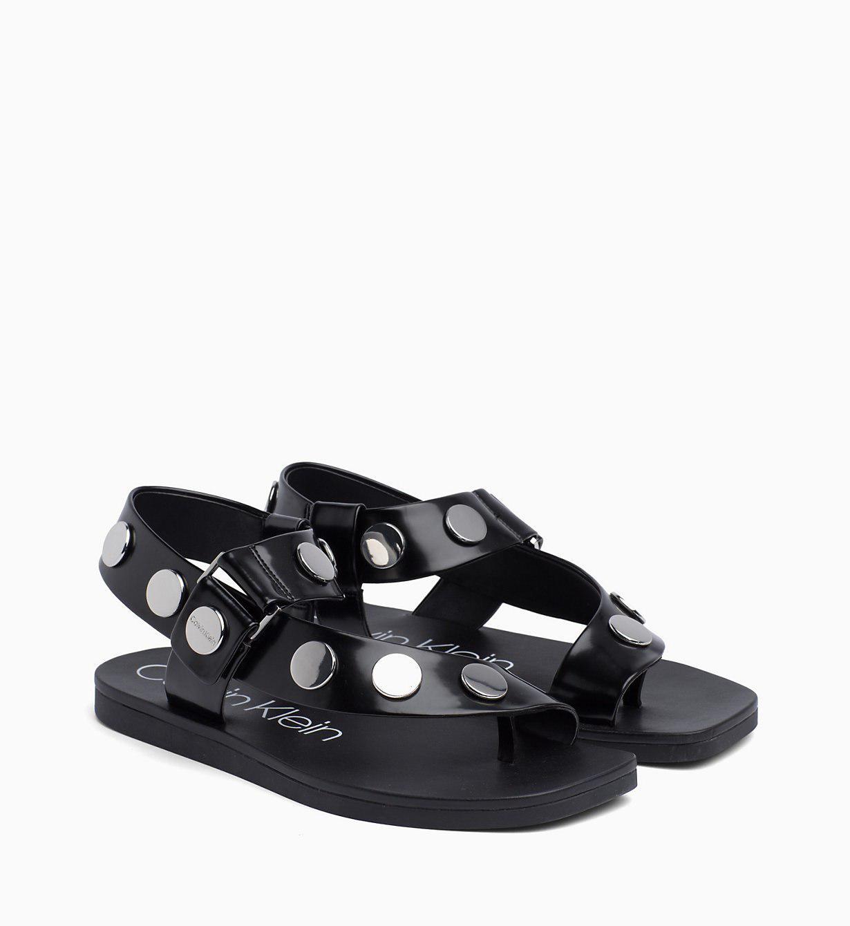 Calvin Klein Studded Sandals in Black