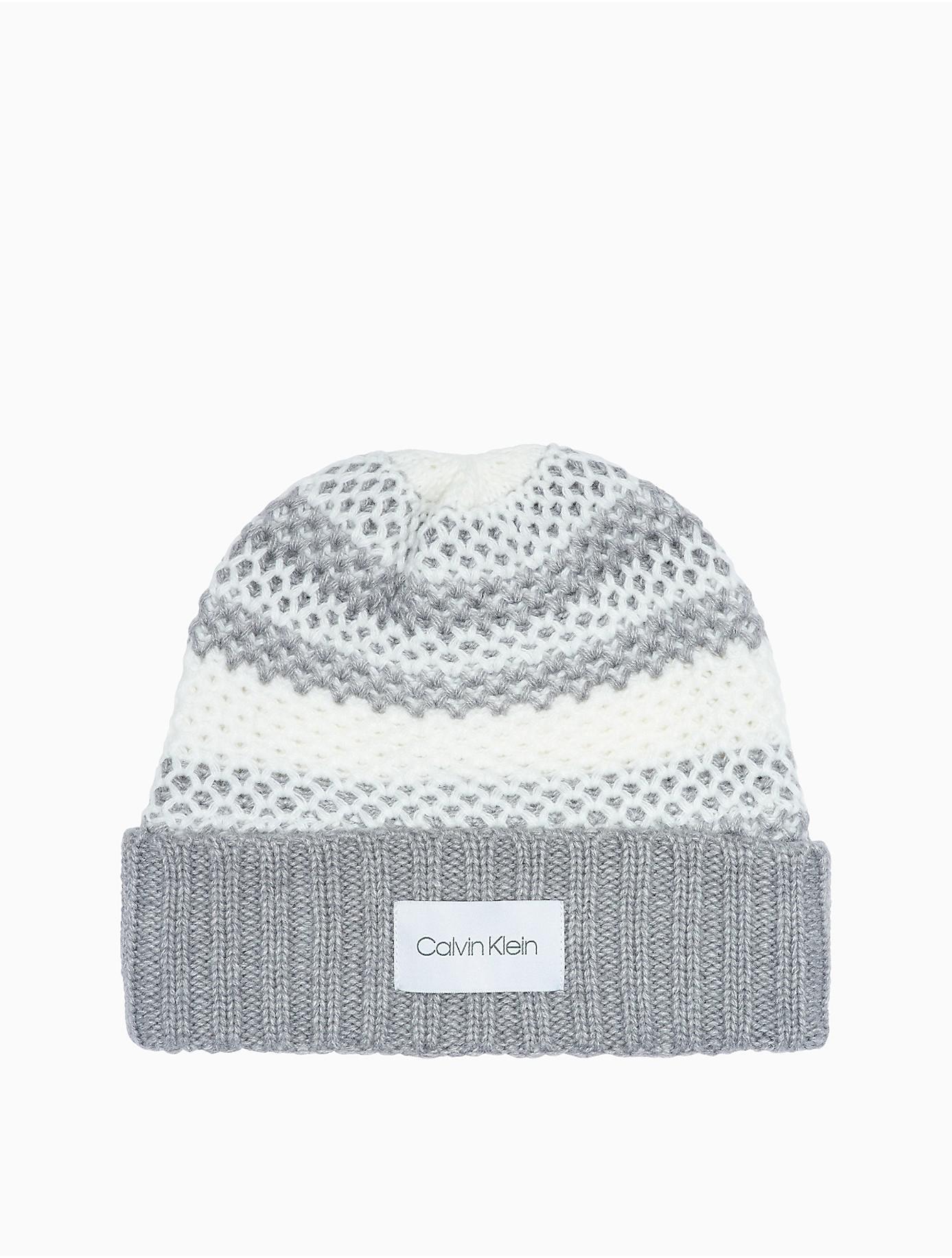 70faa785 Lyst - Calvin Klein Honeycomb Knit Striped Logo Hat in Gray