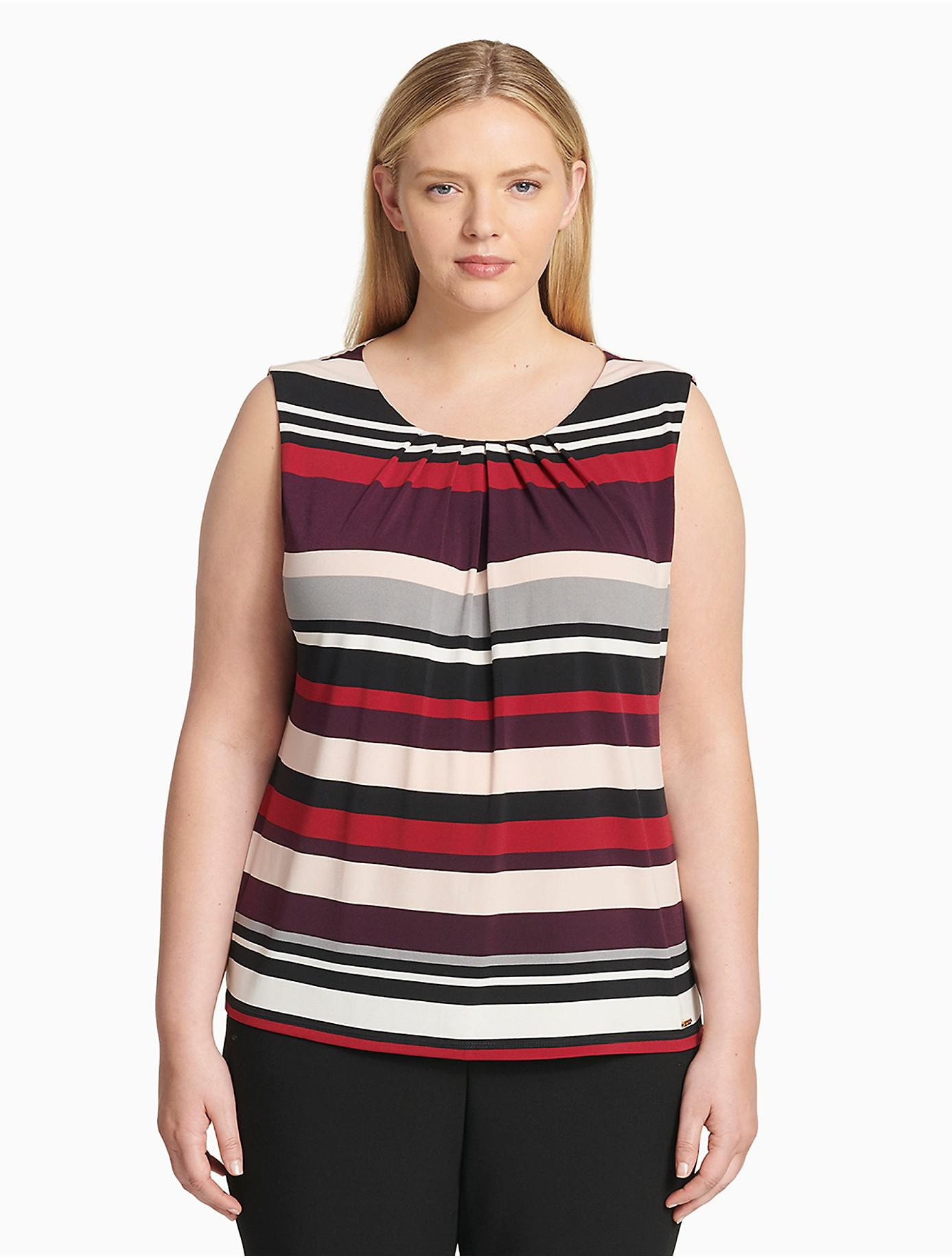05d424e18c1 Lyst - Calvin Klein Plus Size Striped Pleat Neck Sleeveless Top in Red