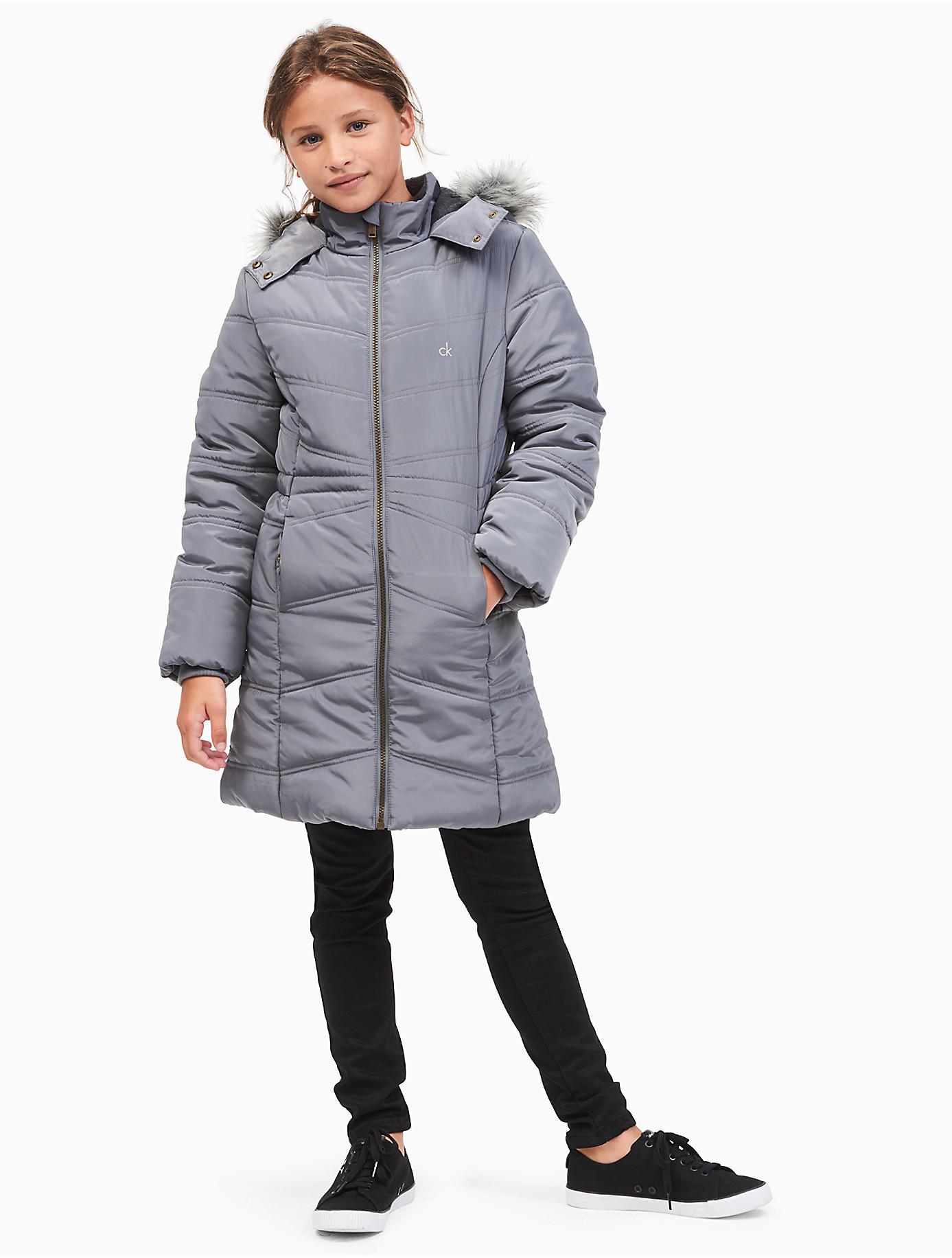 40112c387 Lyst - Calvin Klein Girls Aerial Puffer Jacket in Gray