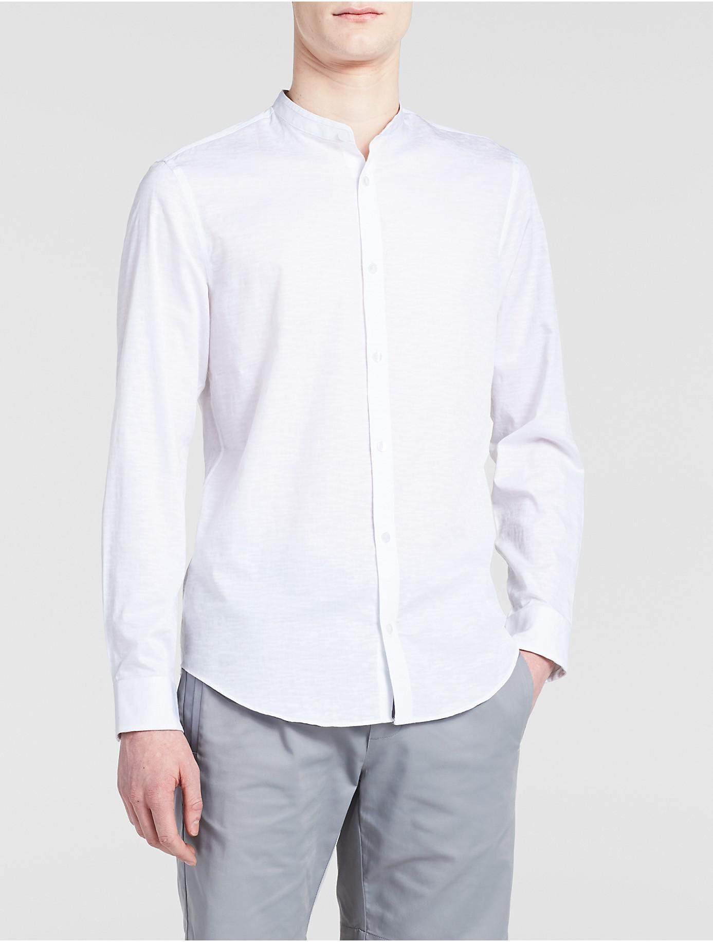 Lyst Calvin Klein Classic Fit Band Collar Camo Shirt In White For Men