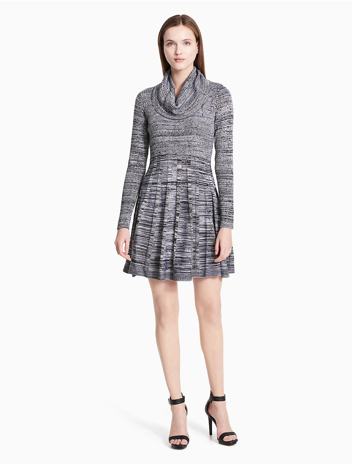 Calvin klein Marled Cowl Neck Fit   Flare Sweater Dress in Black ...