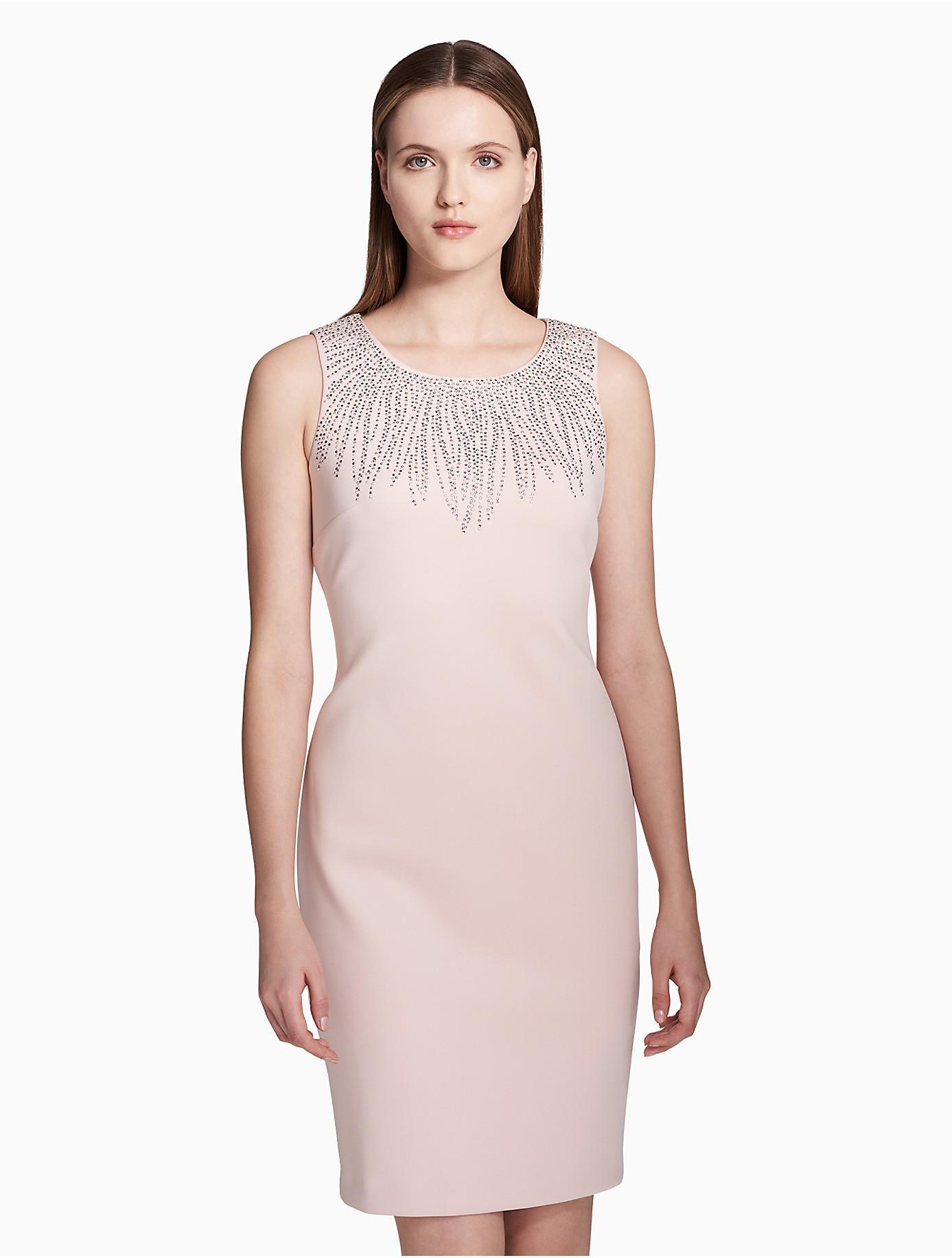 116bf7568bffa Lyst - Calvin Klein Embellished Scuba Sheath Dress in Pink