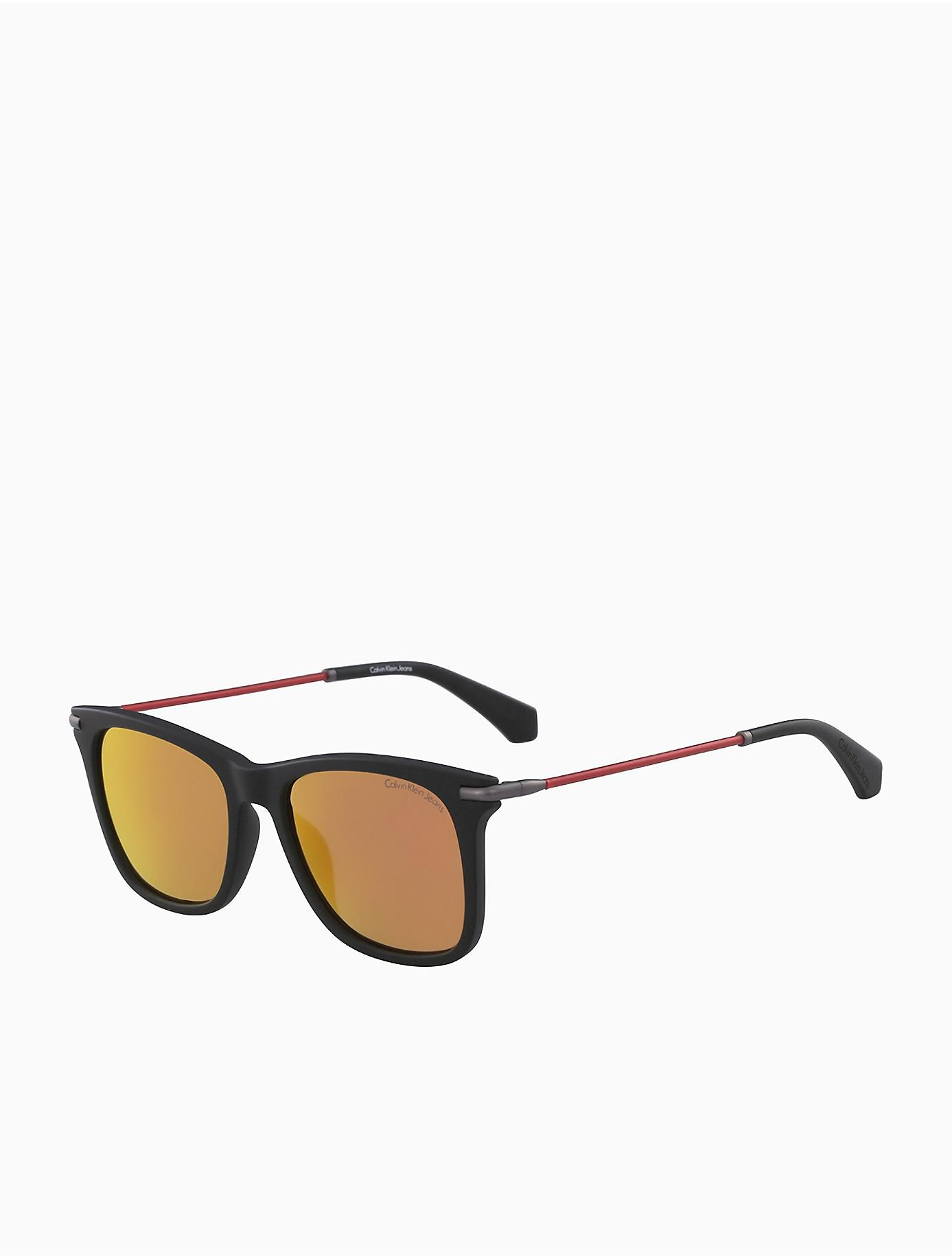 24770d001064 Lyst - Calvin Klein Metal Modified Rectangle Sunglasses in Black