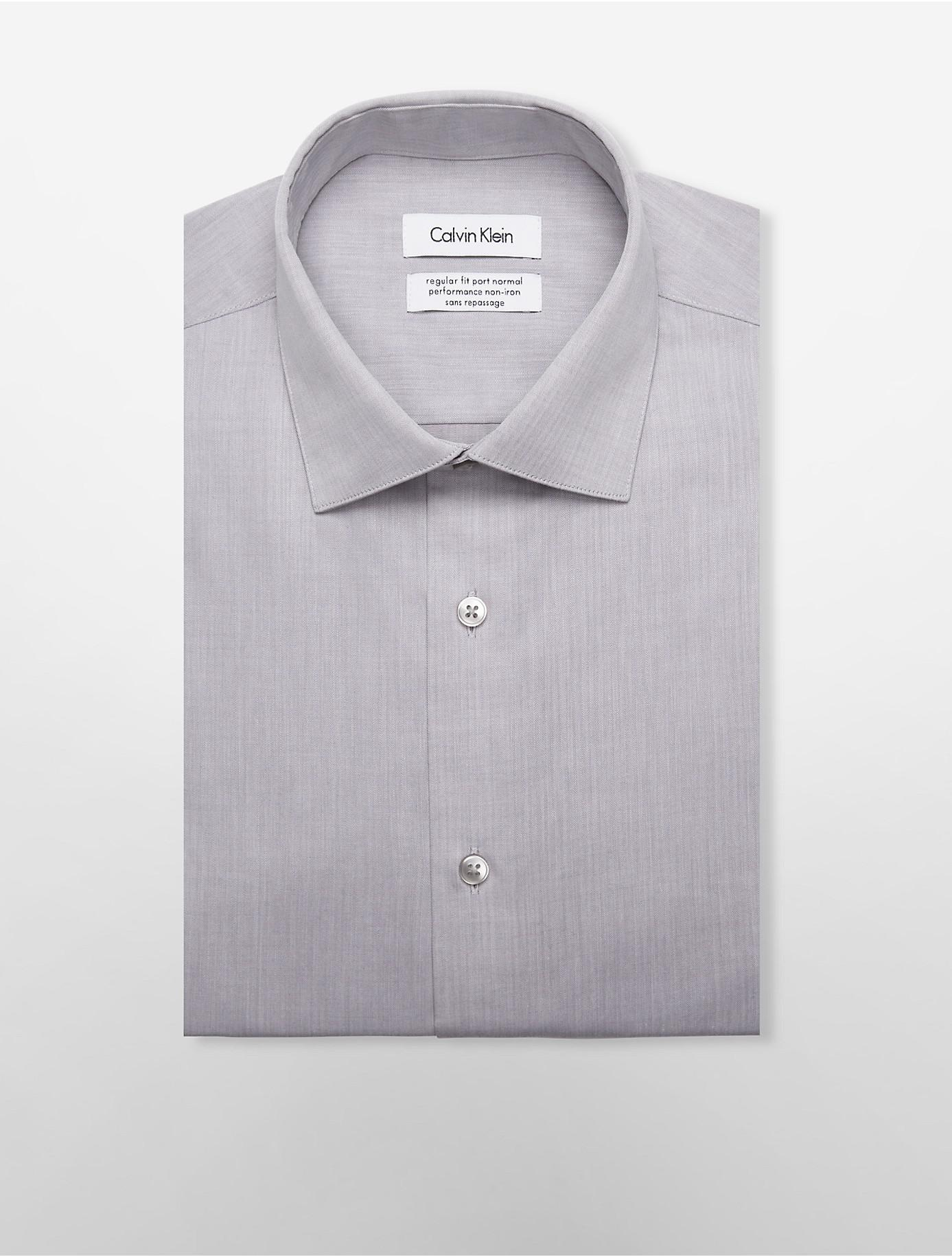 Lyst calvin klein steel regular fit non iron herringbone for White herringbone dress shirt
