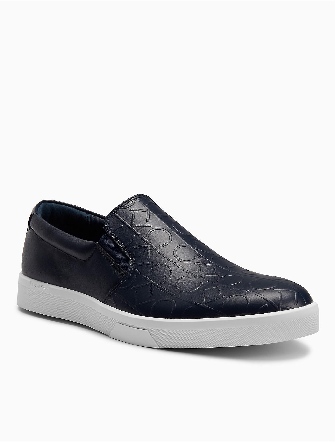 Rubber Rings For Men >> Calvin klein Ivo Logo Leather Slip-on in Blue for Men | Lyst