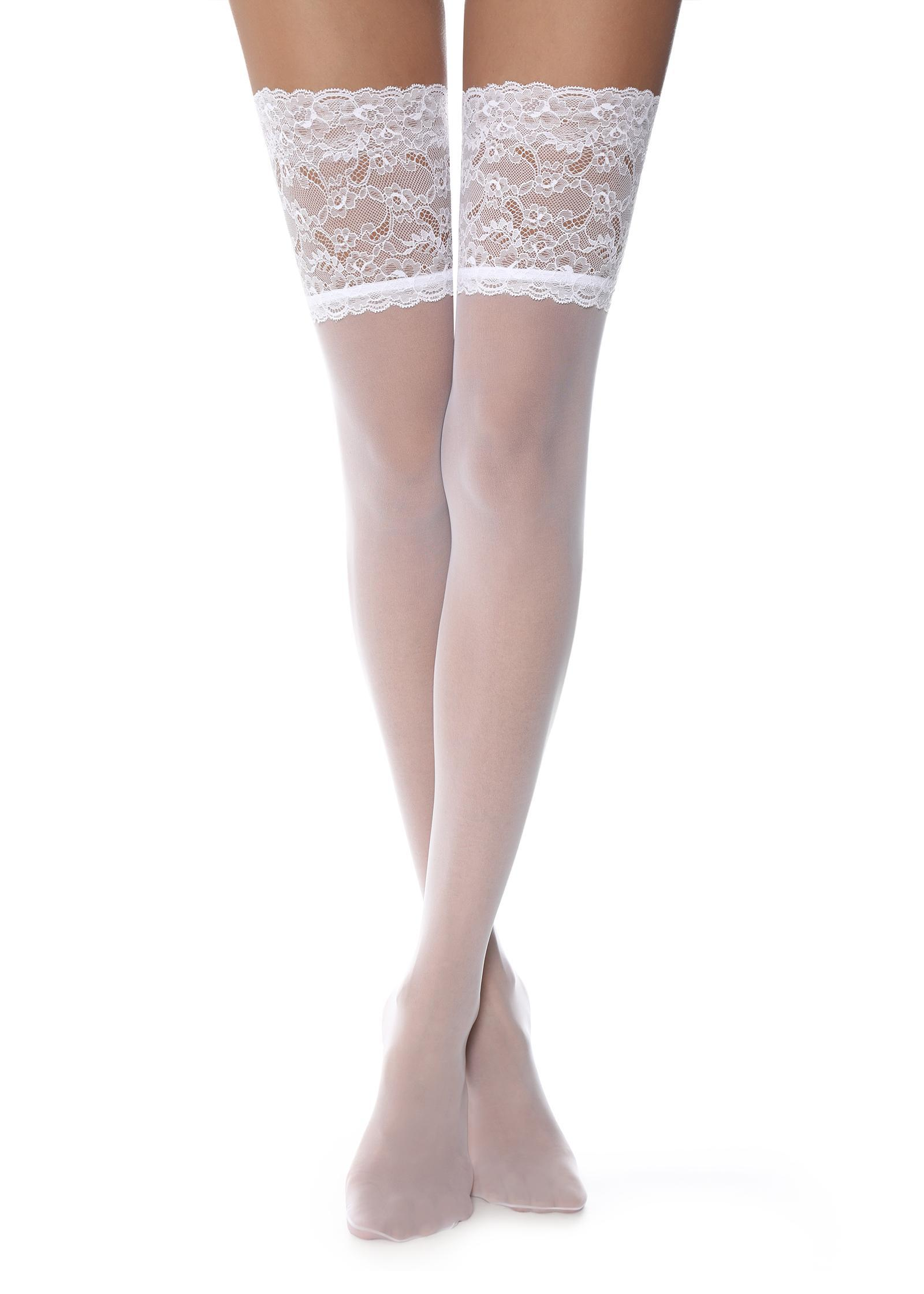 184609ae732ed Calzedonia 20 Denier Opaque Thigh-highs in White - Lyst