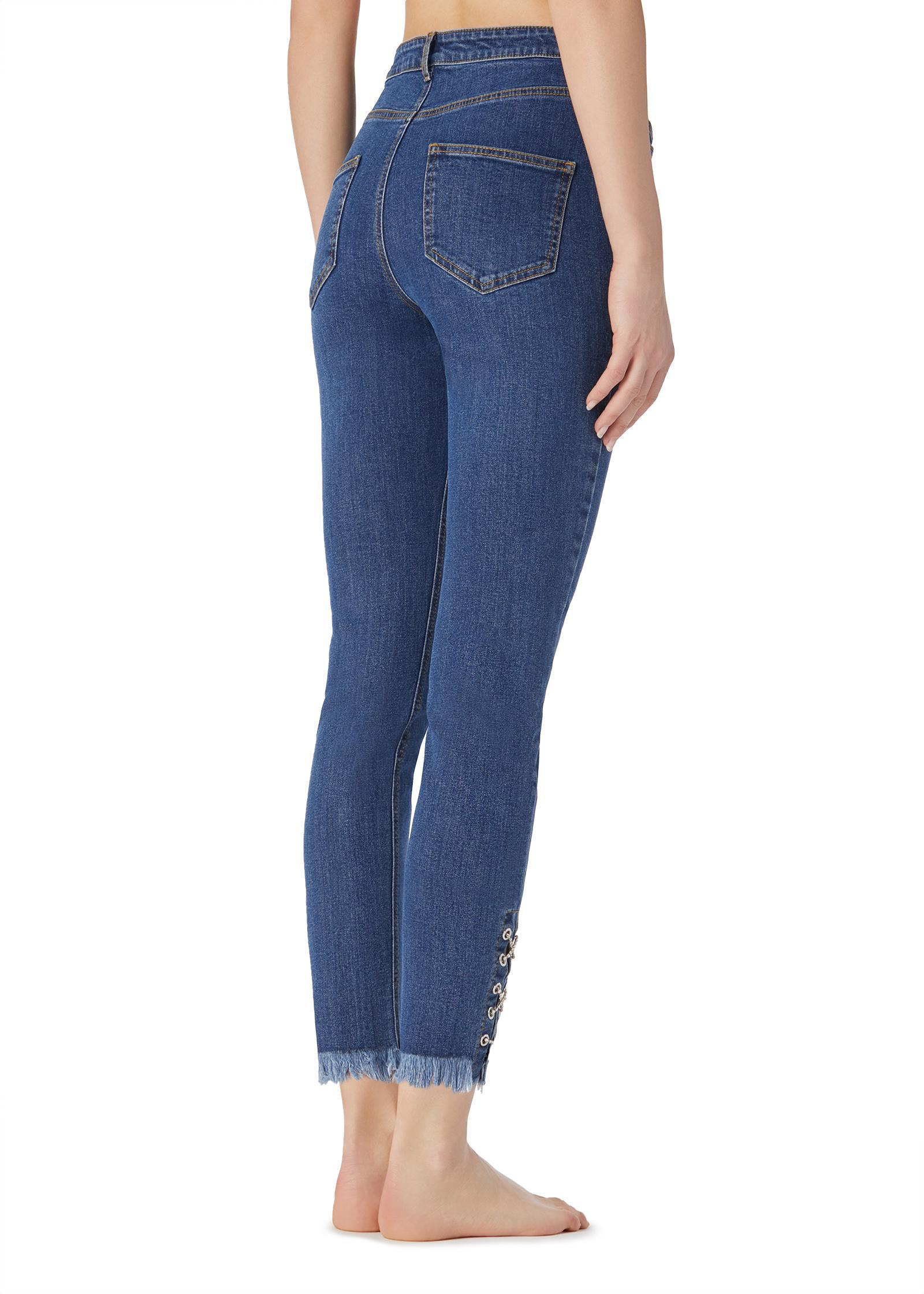 47762e428 Lyst - Calzedonia Frayed Jeans With Woven Detail in Blue